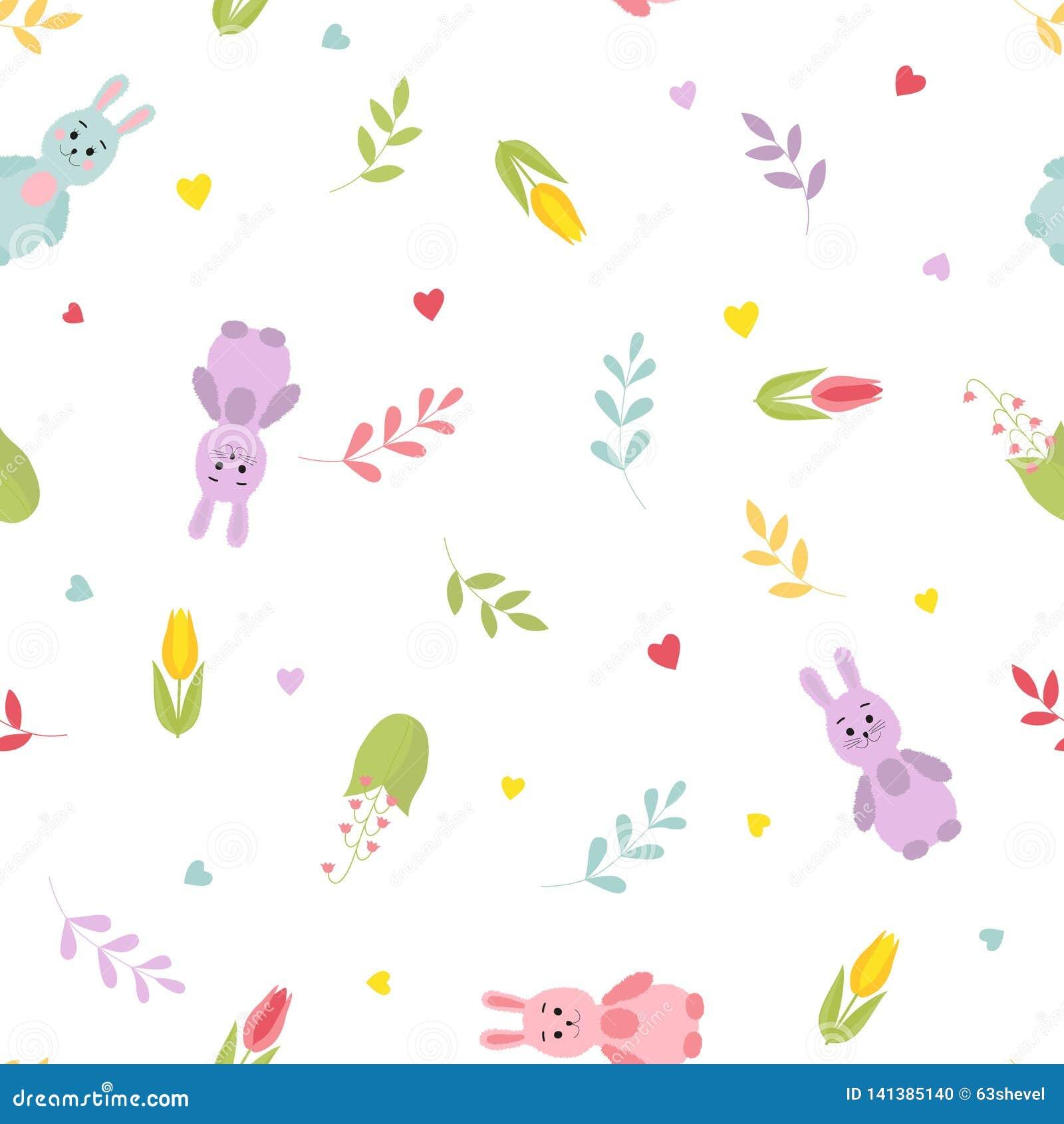 Coelhos bonitos dos desenhos animados, galhos, corações, flores da mola Teste padrão colorido sem emenda