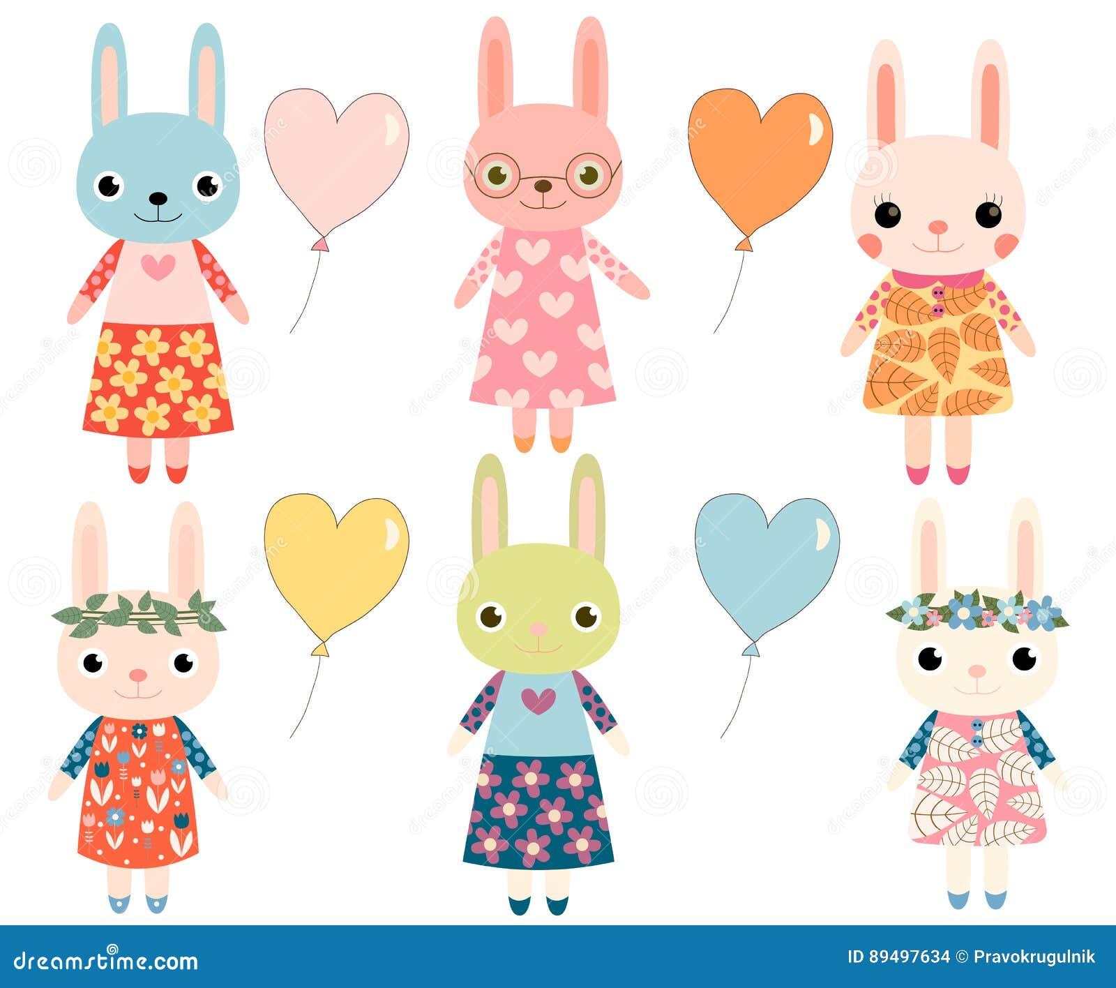 Coelhos Coloridos Bonitos Ilustracao Do Vetor Ilustracao De Bunny