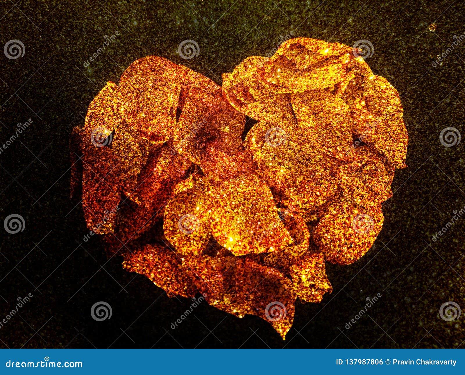 Coeur abstrait de valentine des pétales de Rose Rose avec le fond texturisé