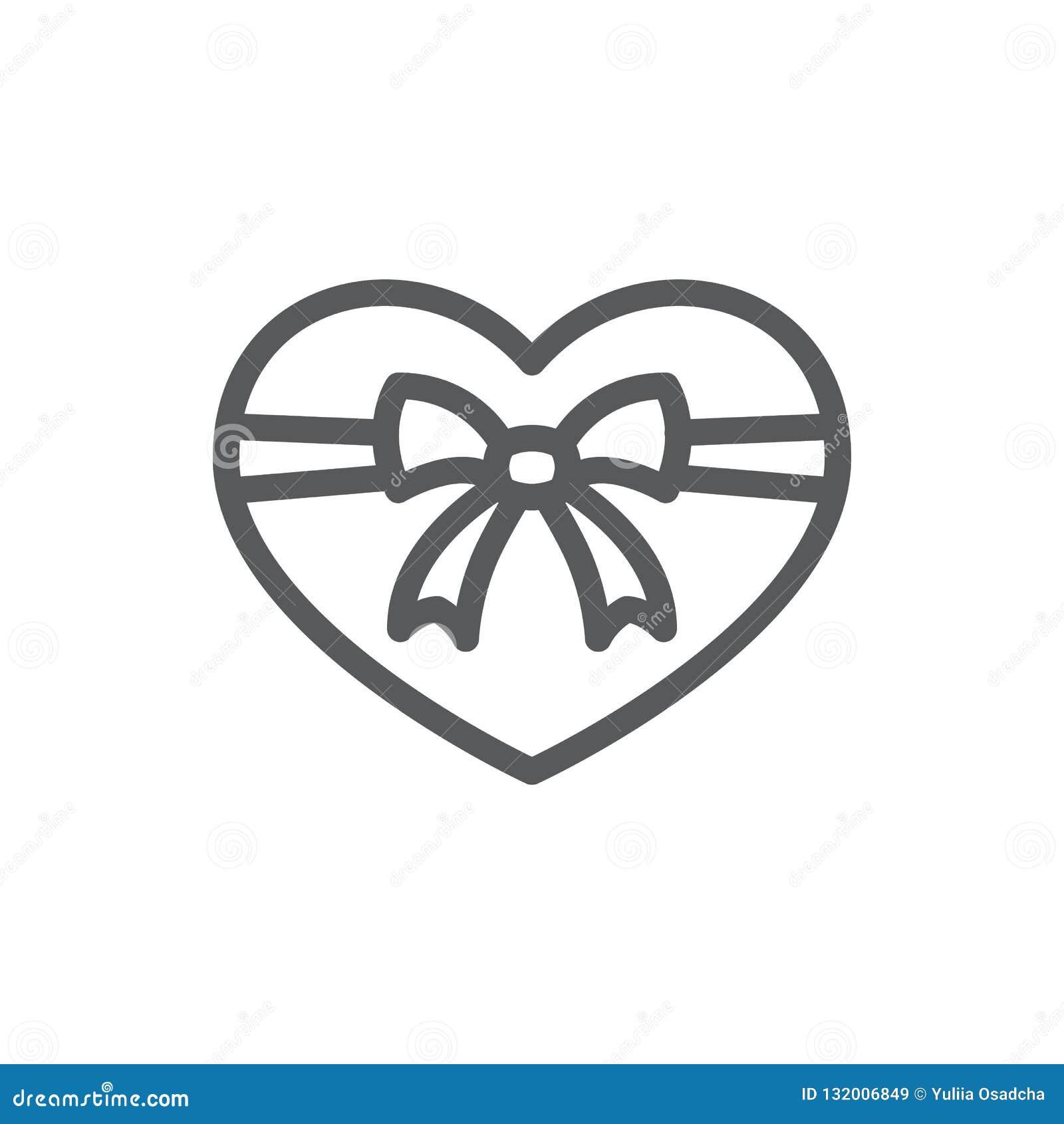 Coeur attaché avec la ligne icône de ruban et d arc avec la course editable