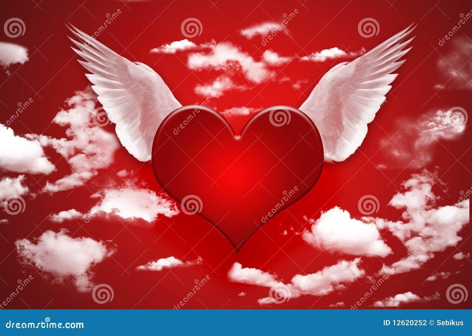 coeur avec des ailes photographie stock image 12620252. Black Bedroom Furniture Sets. Home Design Ideas