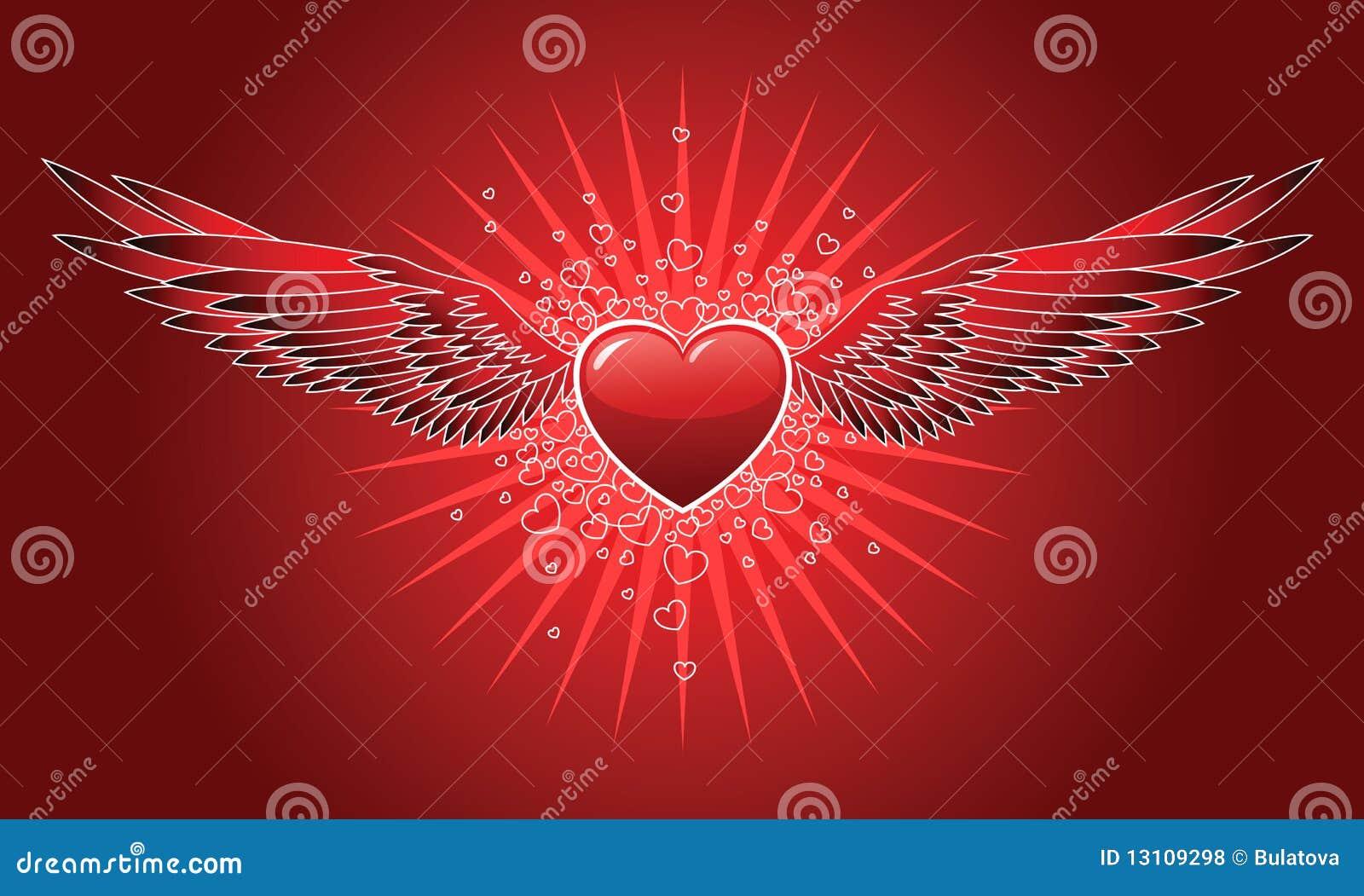Coeur avec des ailes illustration de vecteur image du - Coeur avec des photos ...