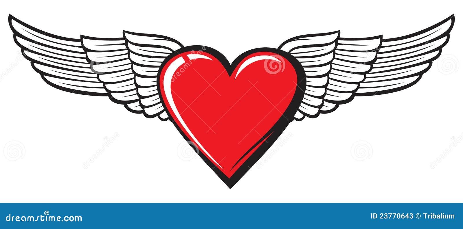 Coeur avec des ailes photos stock image 23770643 - Coeur avec des photos ...