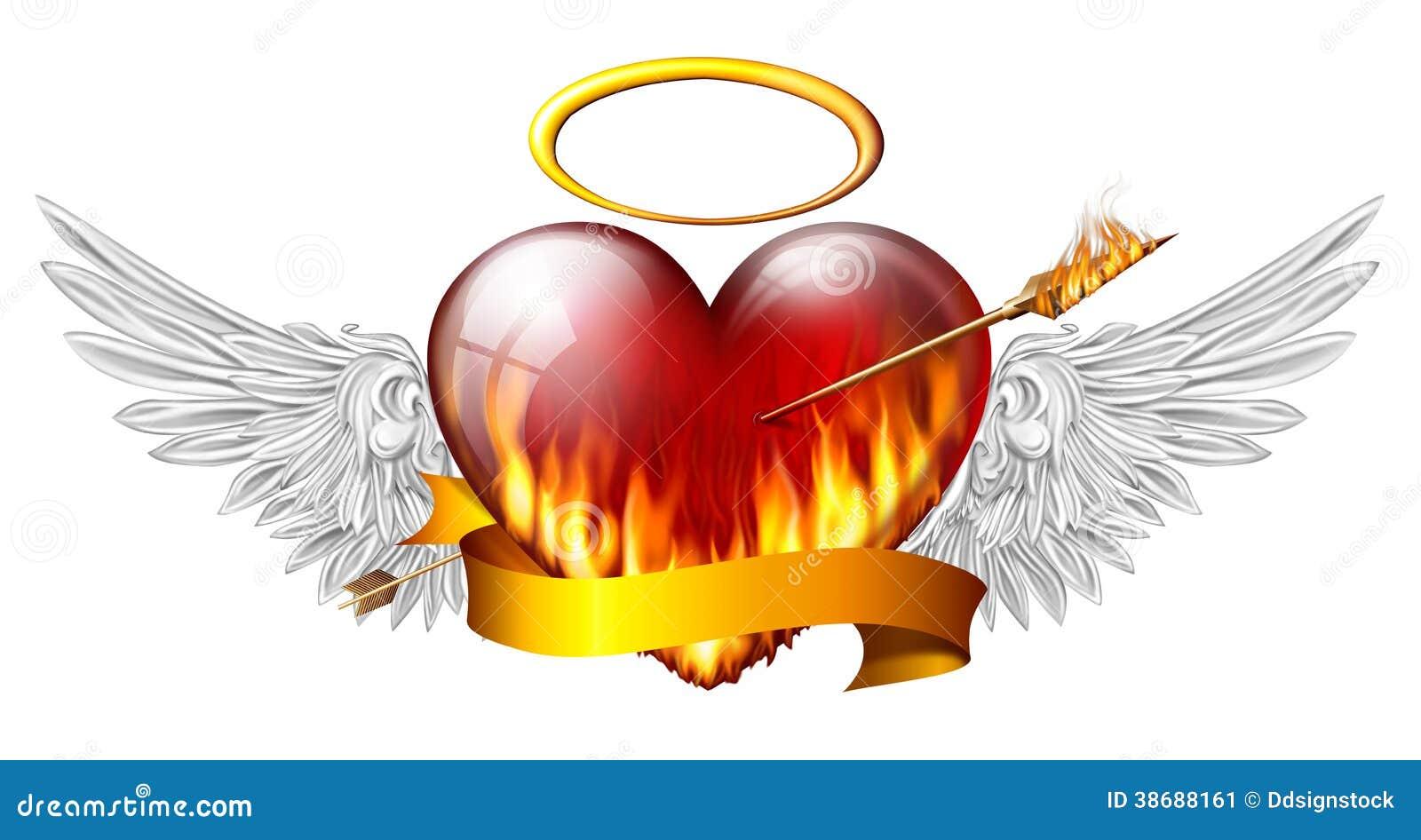 coeur avec des ailes d 39 ange illustration stock image 38688161. Black Bedroom Furniture Sets. Home Design Ideas