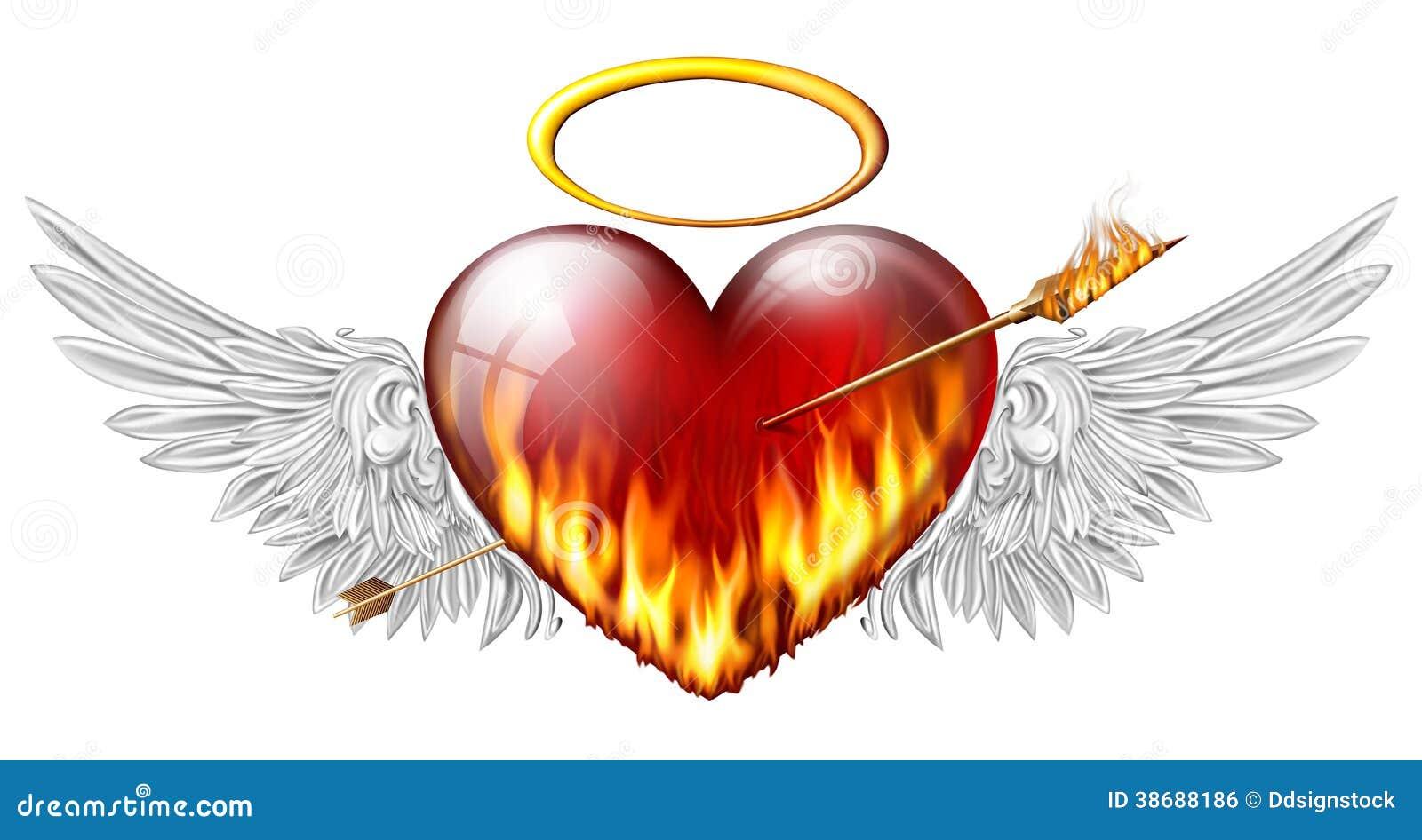 Coeur avec des ailes d 39 ange image libre de droits image - Coeur avec des photos ...