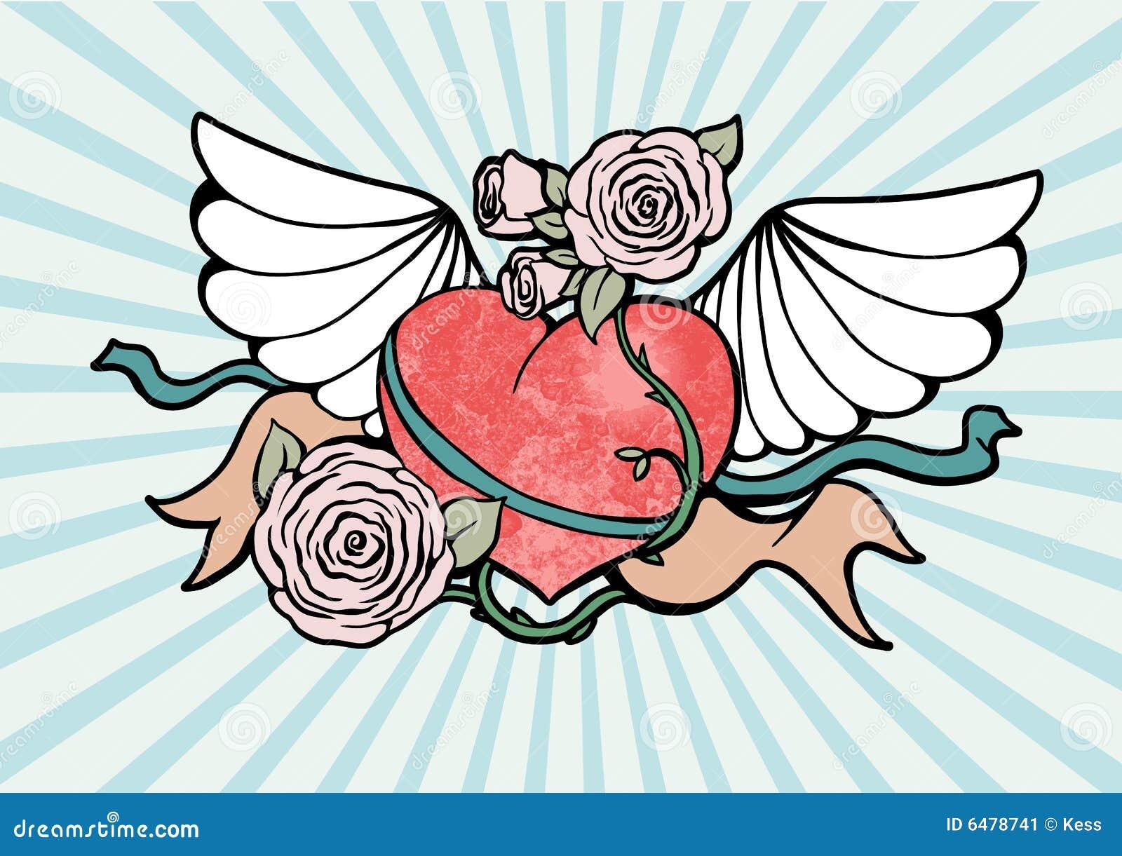 Coeur avec des ailes et des roses illustration de vecteur illustration du sunbeam r tro 6478741 - Coeur avec des photos ...