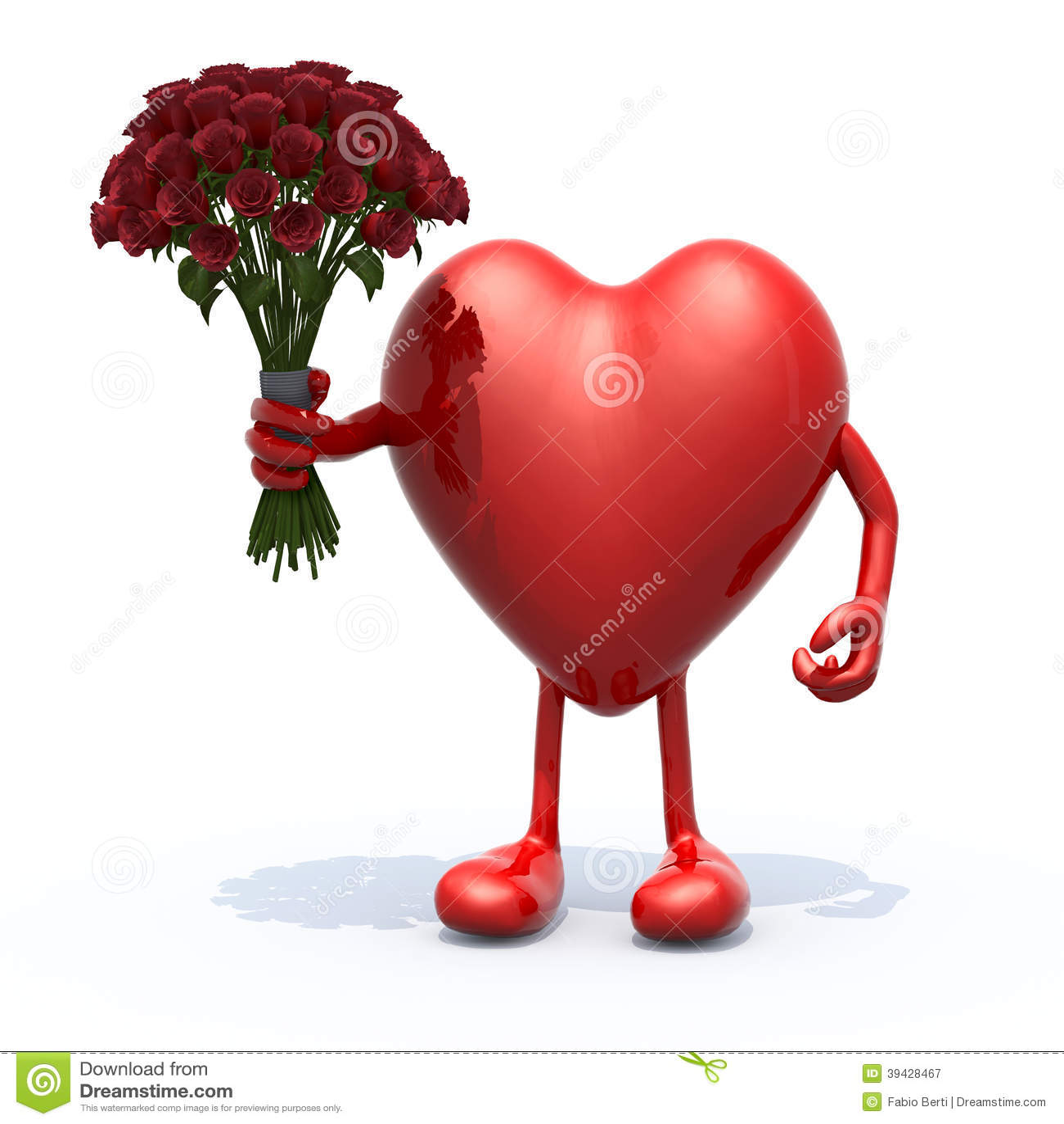 Coeur avec des bras des jambes et le groupe de roses illustration stock image 39428467 - Coeur avec des photos ...