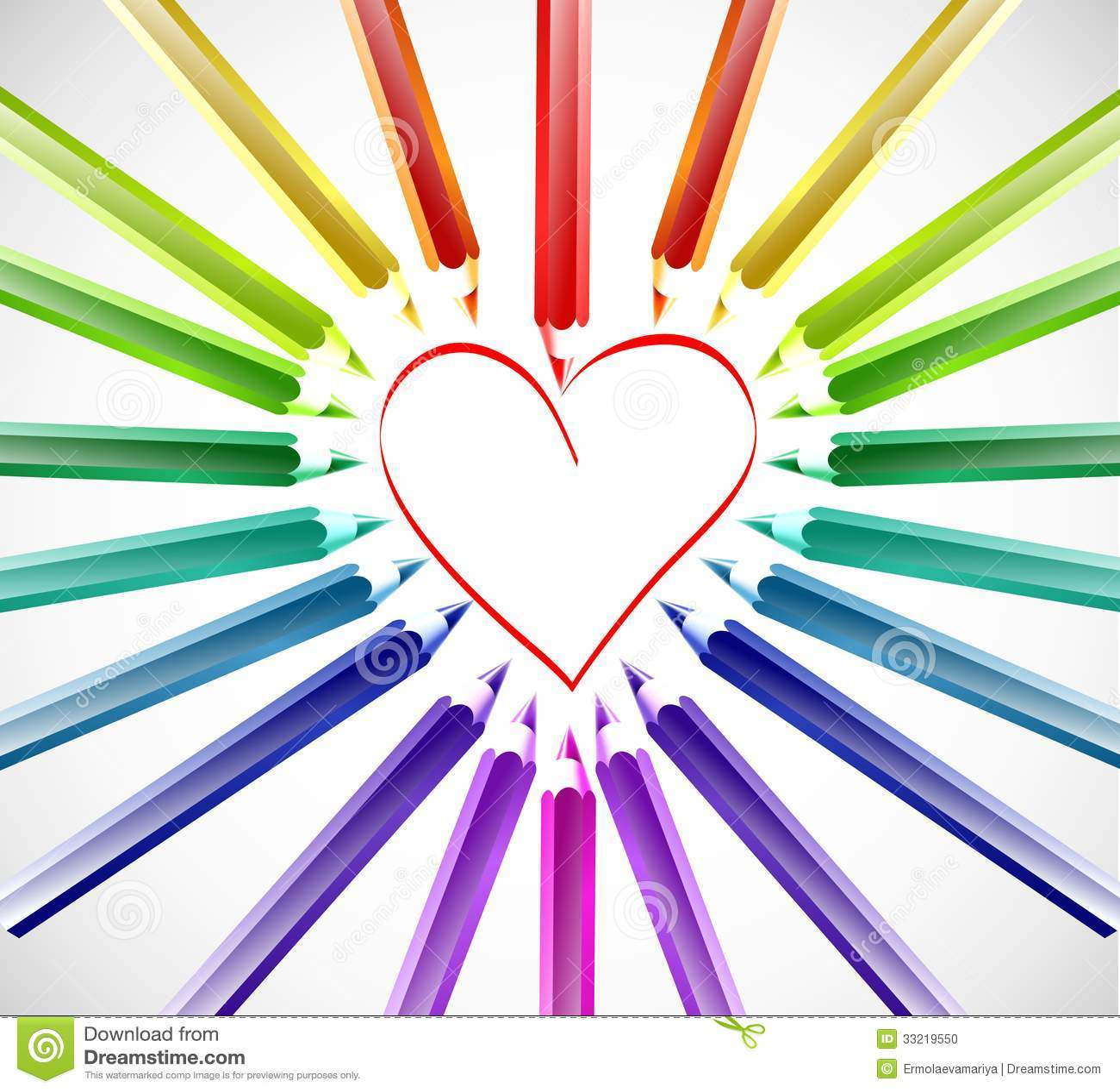 Coeur avec des crayons de couleur vecteur illustration de vecteur illustration du papier - Coeur avec des photos ...
