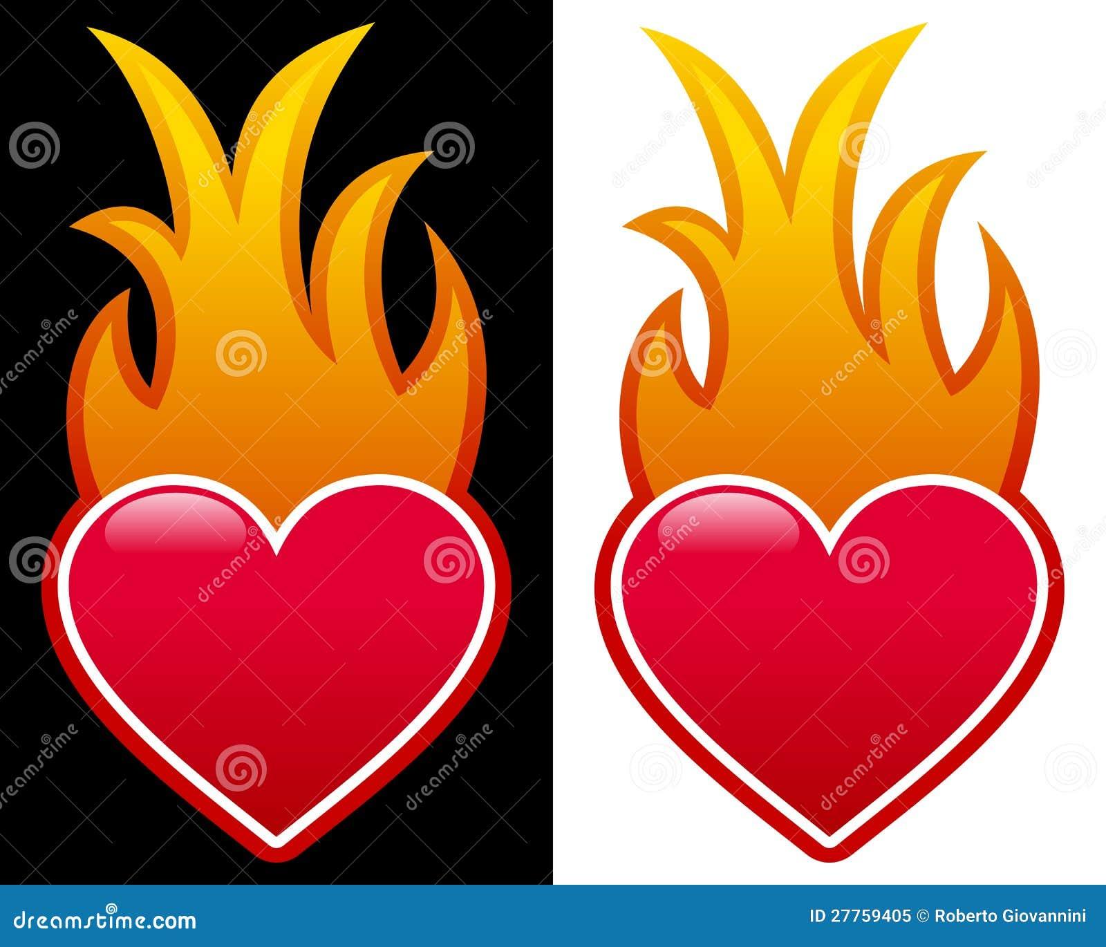 Coeur avec des flammes photo libre de droits image 27759405 - Coeur avec des photos ...