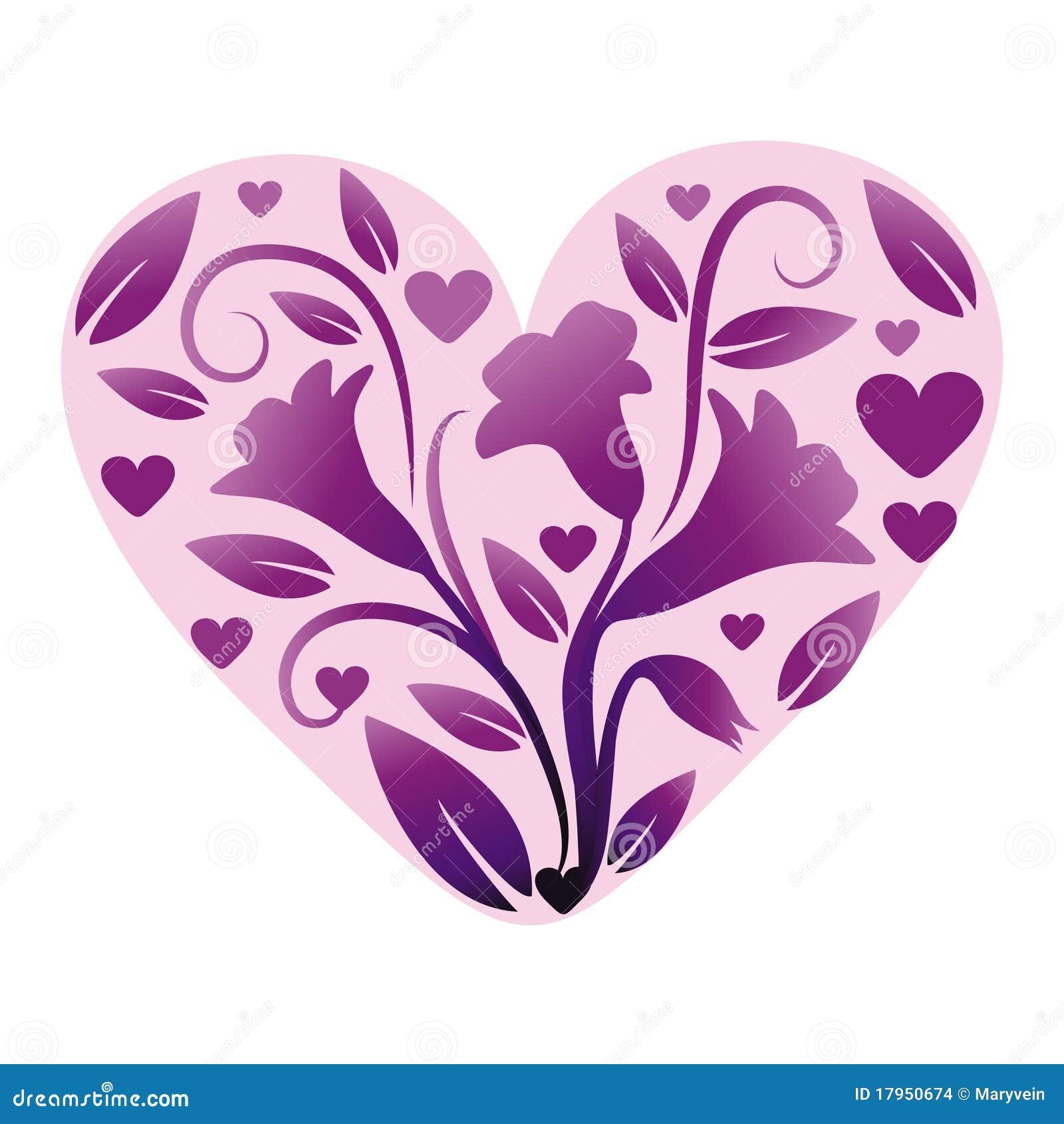 Coeur avec des fleurs images stock image 17950674 - Coeur avec des fleurs ...