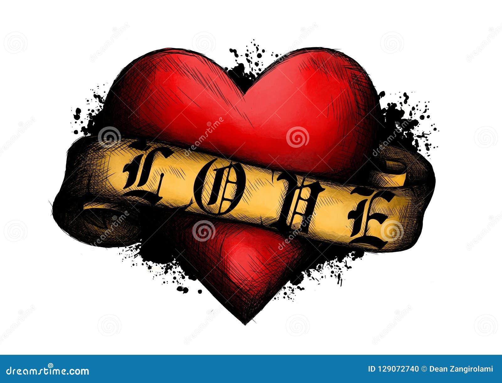 Coeur avec la bande dans le type de tatouage illustration dans le style gravé