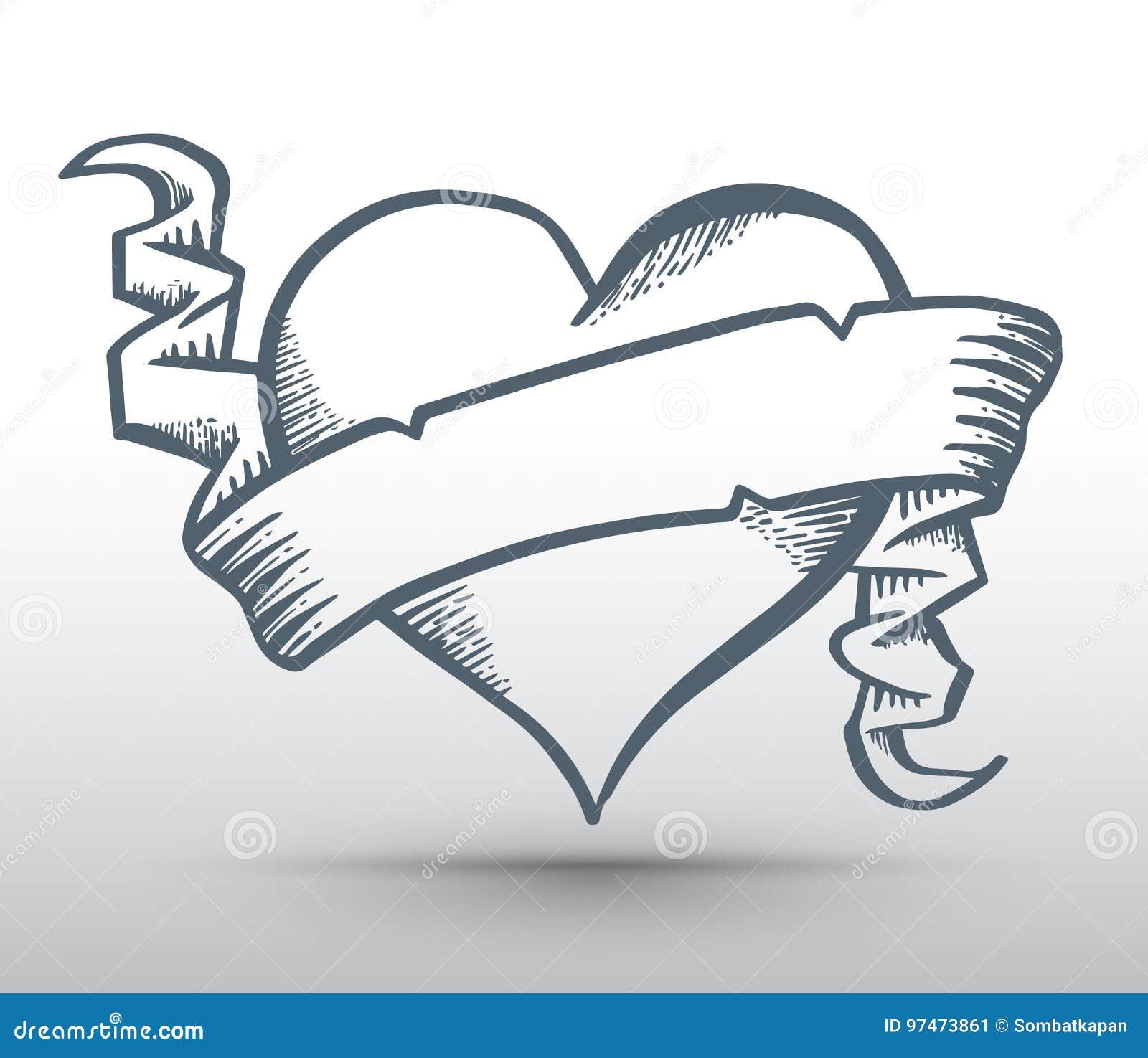 Dessin Ruban coeur avec la bannière de dessin de ruban illustration de vecteur