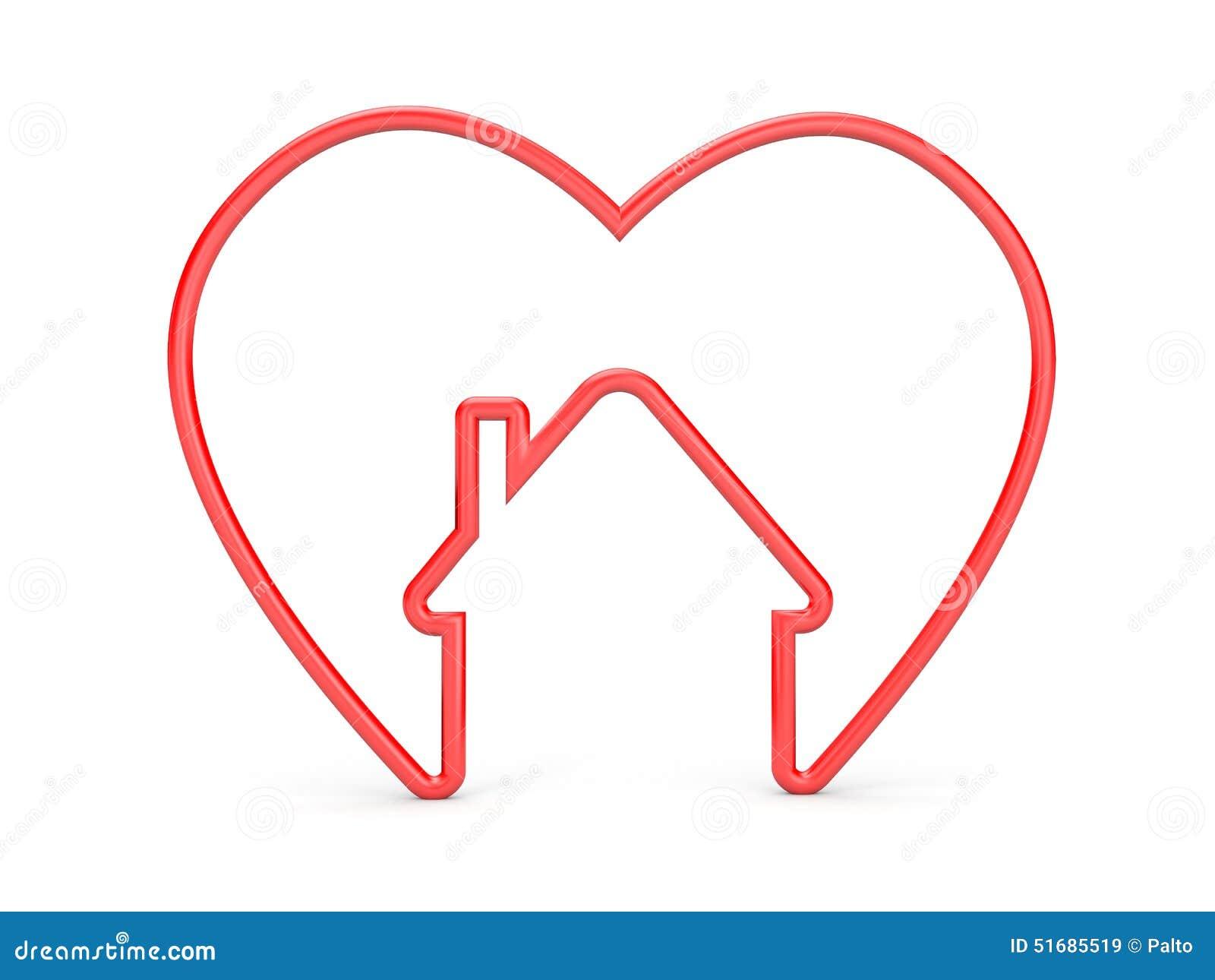coeur avec la forme de maison illustration stock image 51685519. Black Bedroom Furniture Sets. Home Design Ideas