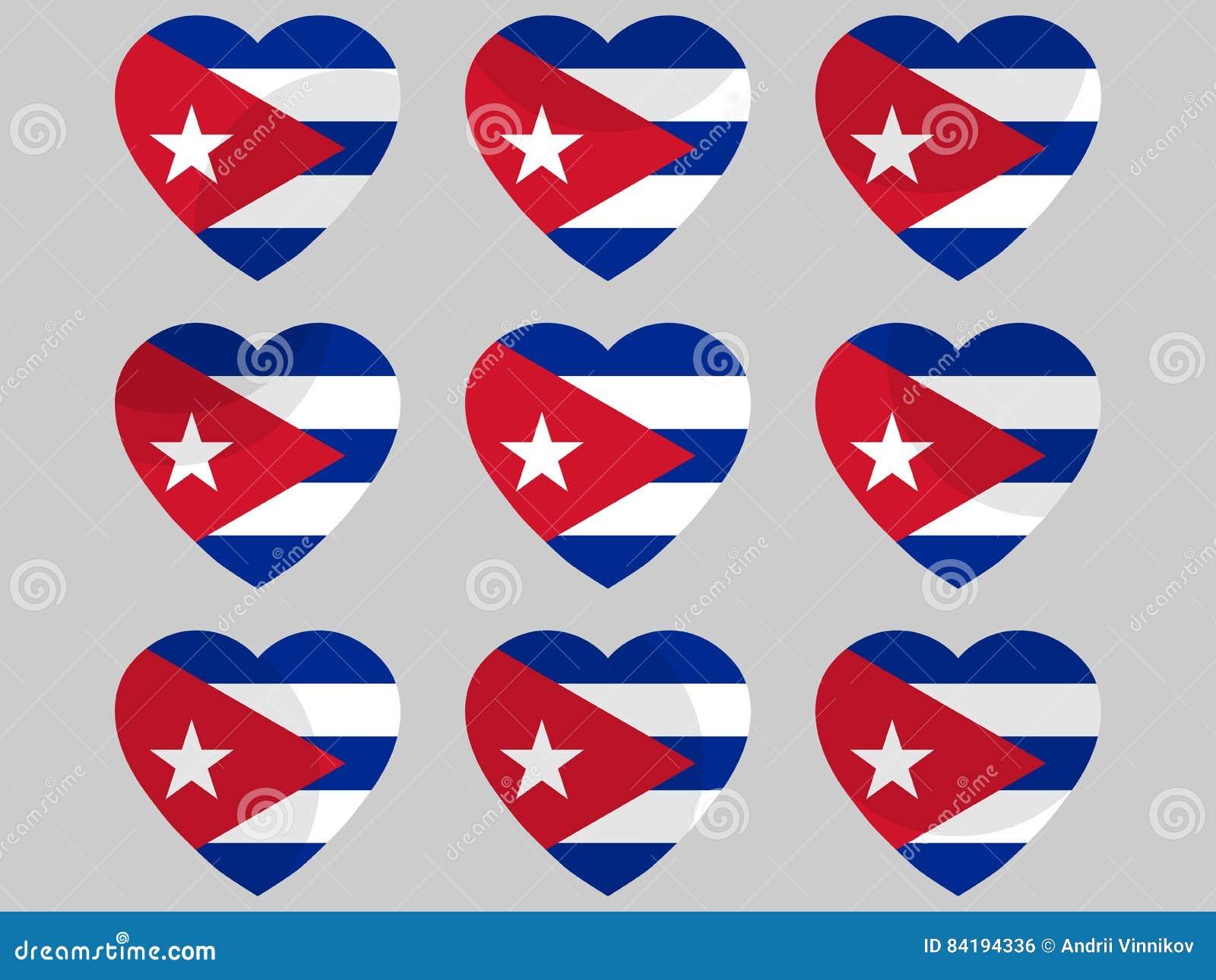 Coeur avec le drapeau du Cuba J aime le Cuba Vecteur