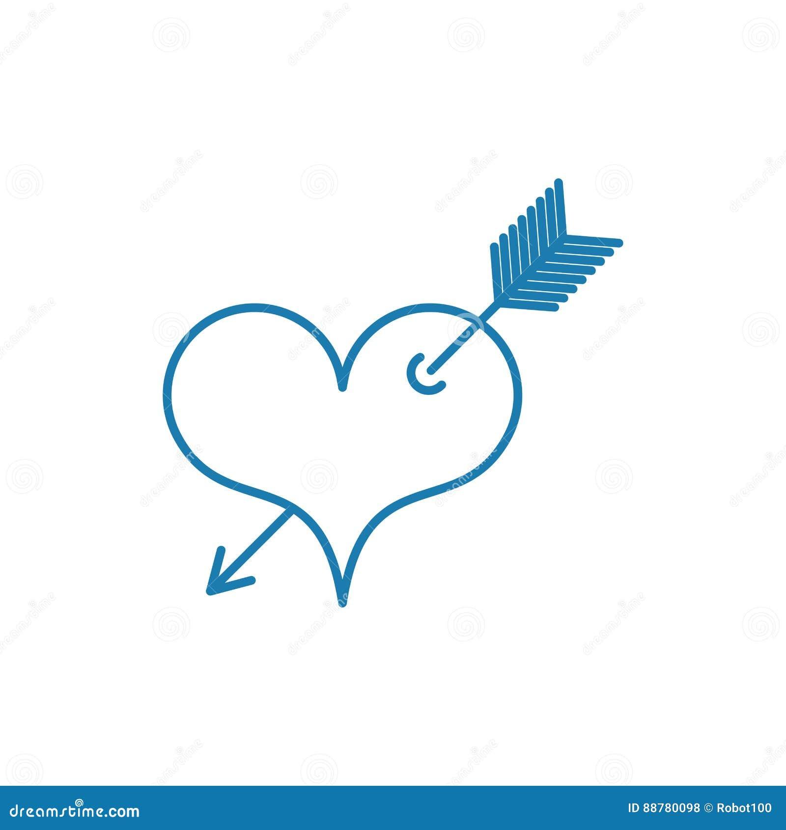coeur avec le symbole de tatouage de fl che de l 39 amour style lin aire illustration de vecteur. Black Bedroom Furniture Sets. Home Design Ideas