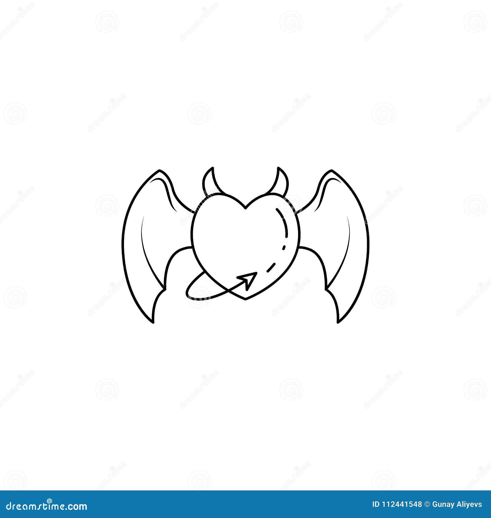 Coeur avec les ailes et l icône de queue Élément d ange et d icône de démon pour les apps mobiles de concept et de Web Ligne minc