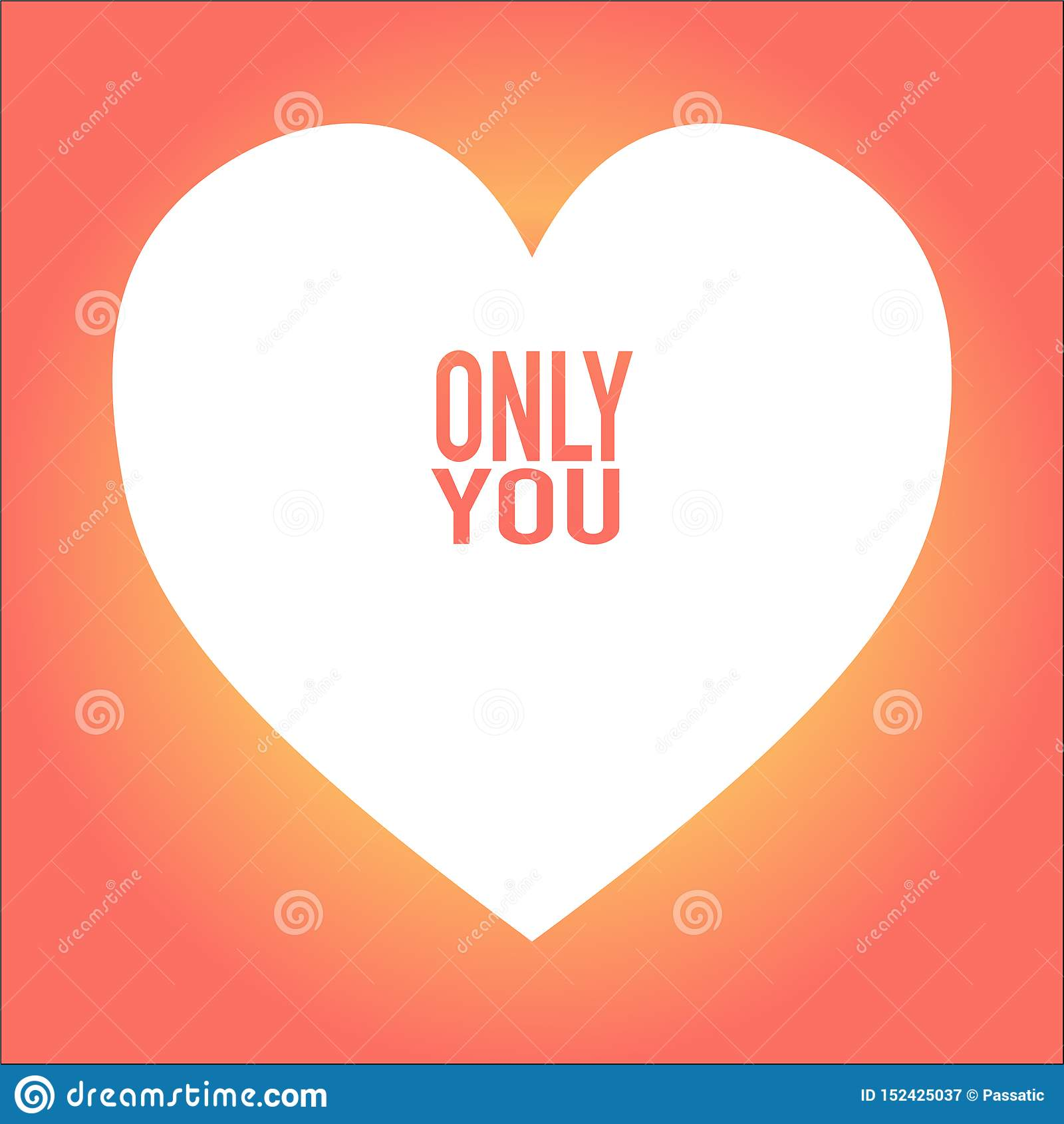 Coeur avec seulement vous sur le fond gentil