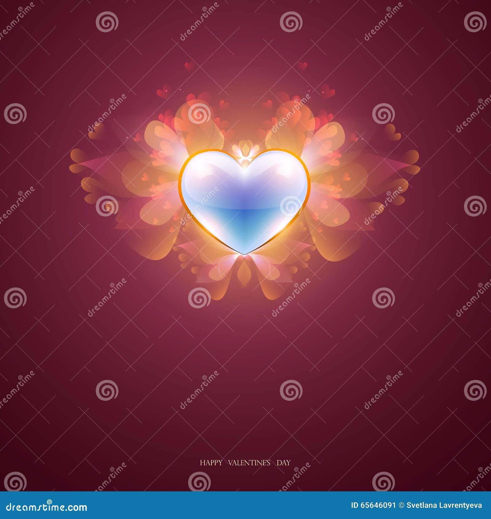 Coeur bleu avec des pétales d ailes, un fond abstrait, vecteur