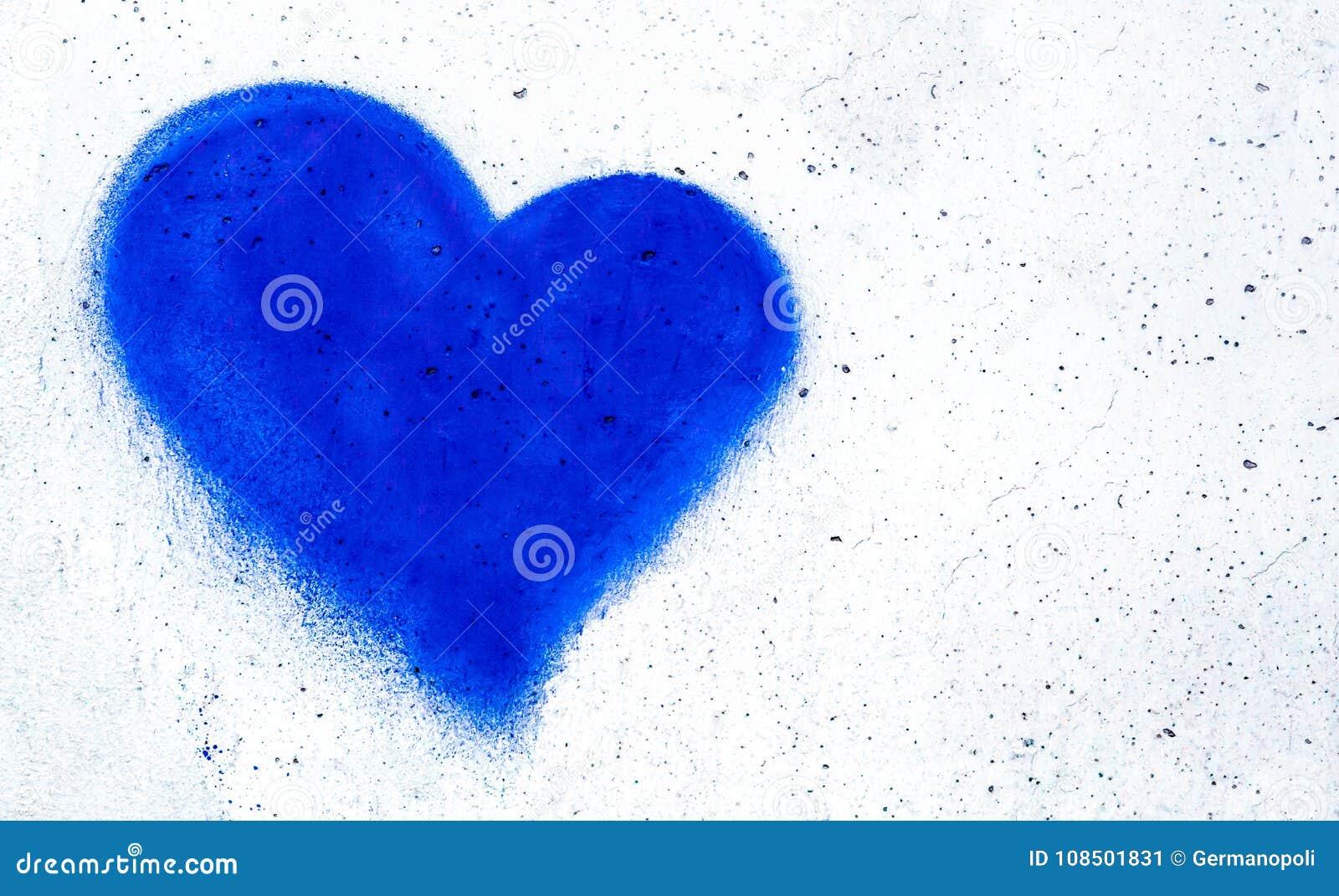coeur bleu sur le mur en b ton image stock image du abstrait mariage 108501831. Black Bedroom Furniture Sets. Home Design Ideas