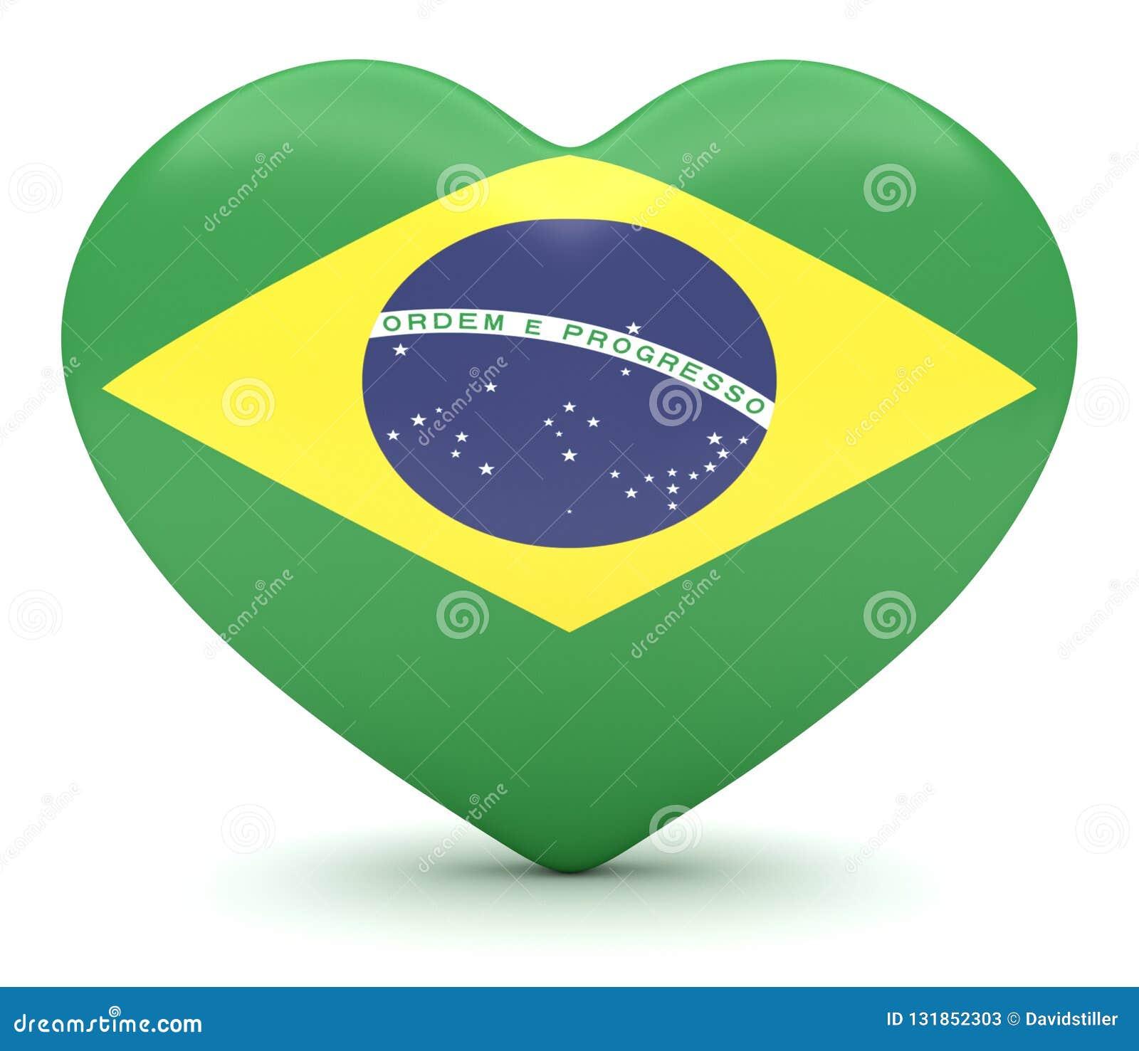 Coeur brésilien de drapeau, illustration 3d