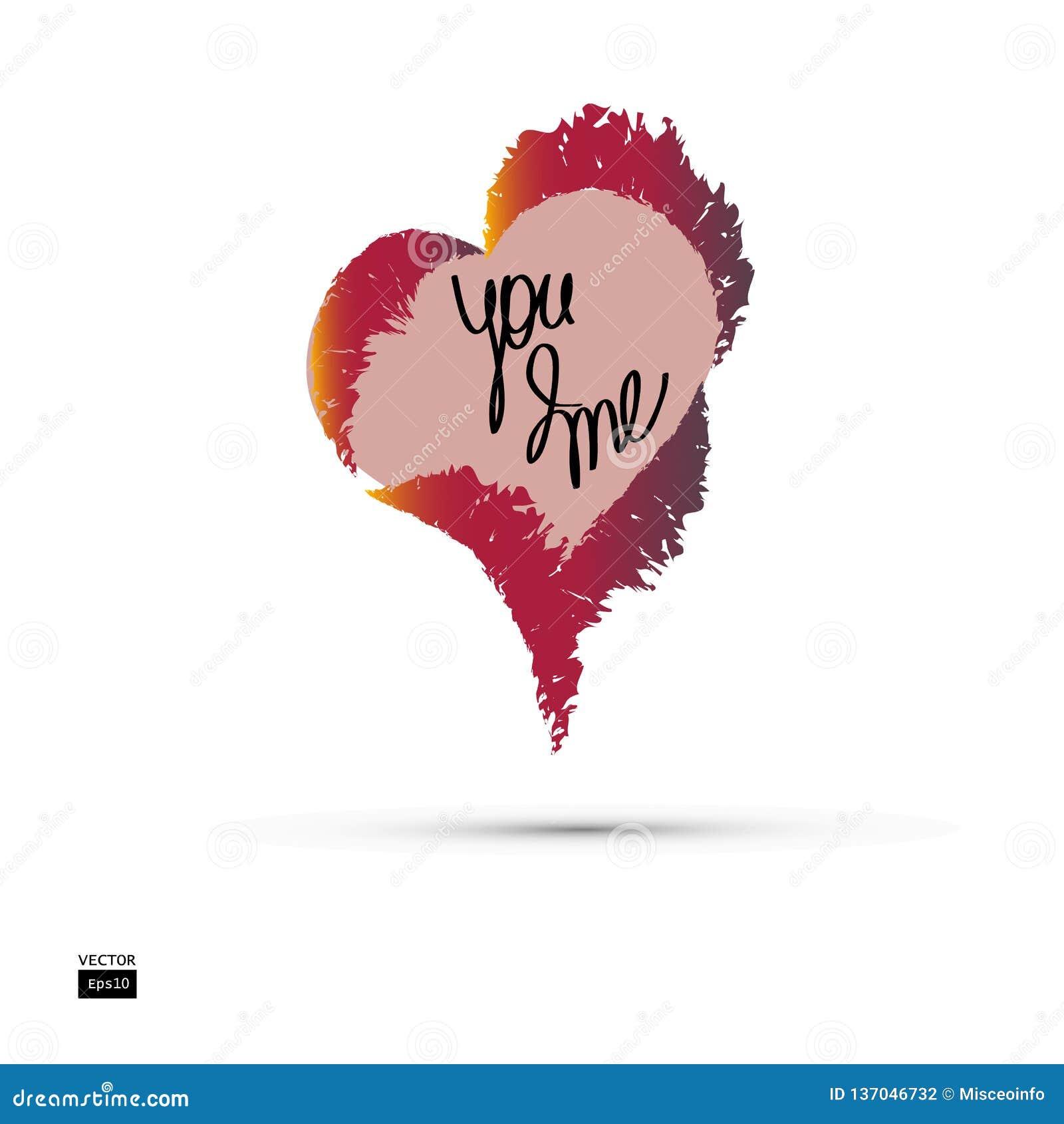 Coeur brûlant avec une inscription Vous et moi Amour Vecteur