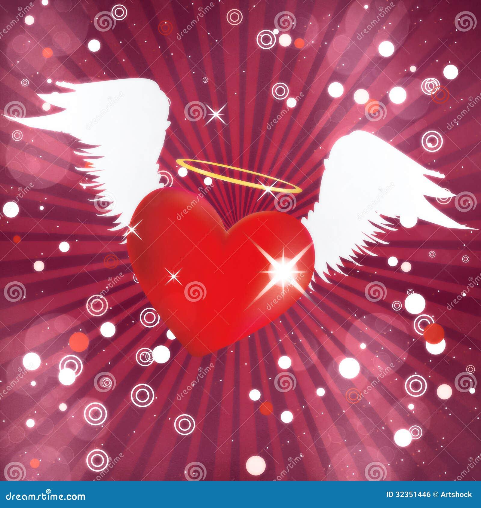 Coeur brillant avec des ailes d 39 ange illustration stock illustration du beau c l brez 32351446 - Coeur avec des photos ...
