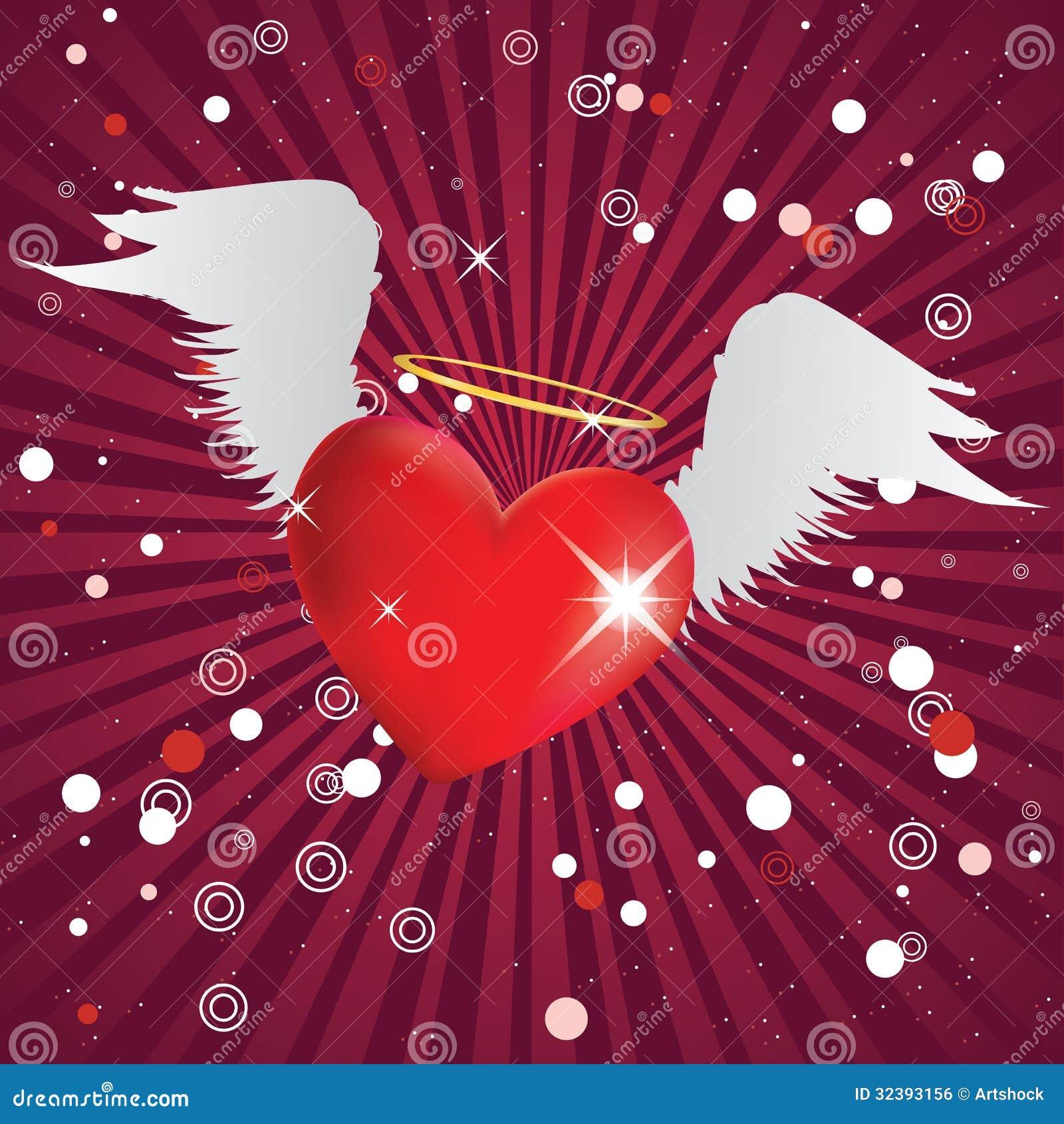 Coeur brillant avec des ailes d 39 ange image libre de droits image 32393156 - Coeur avec des photos ...