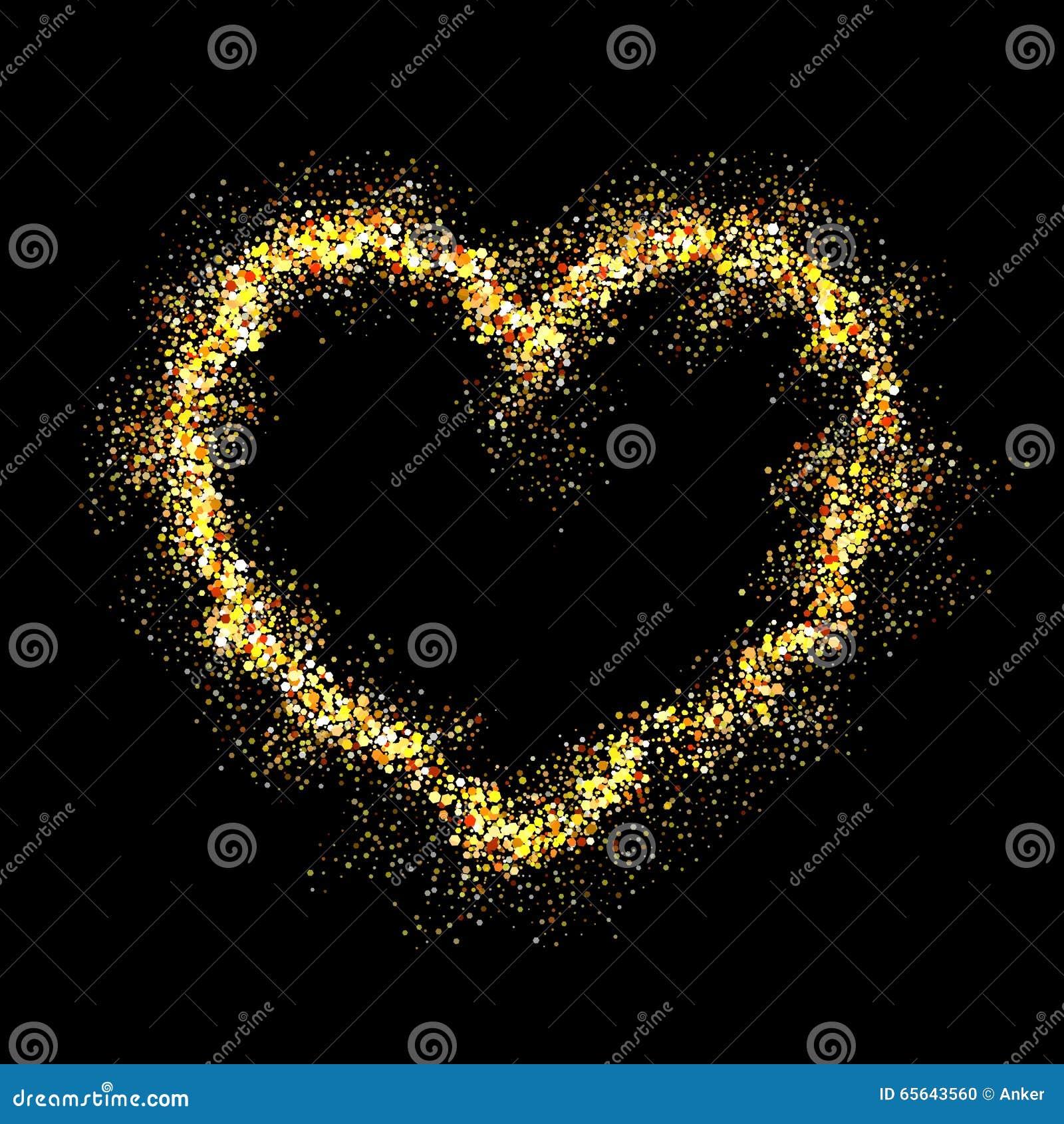 Coeur brillant d or de vecteur