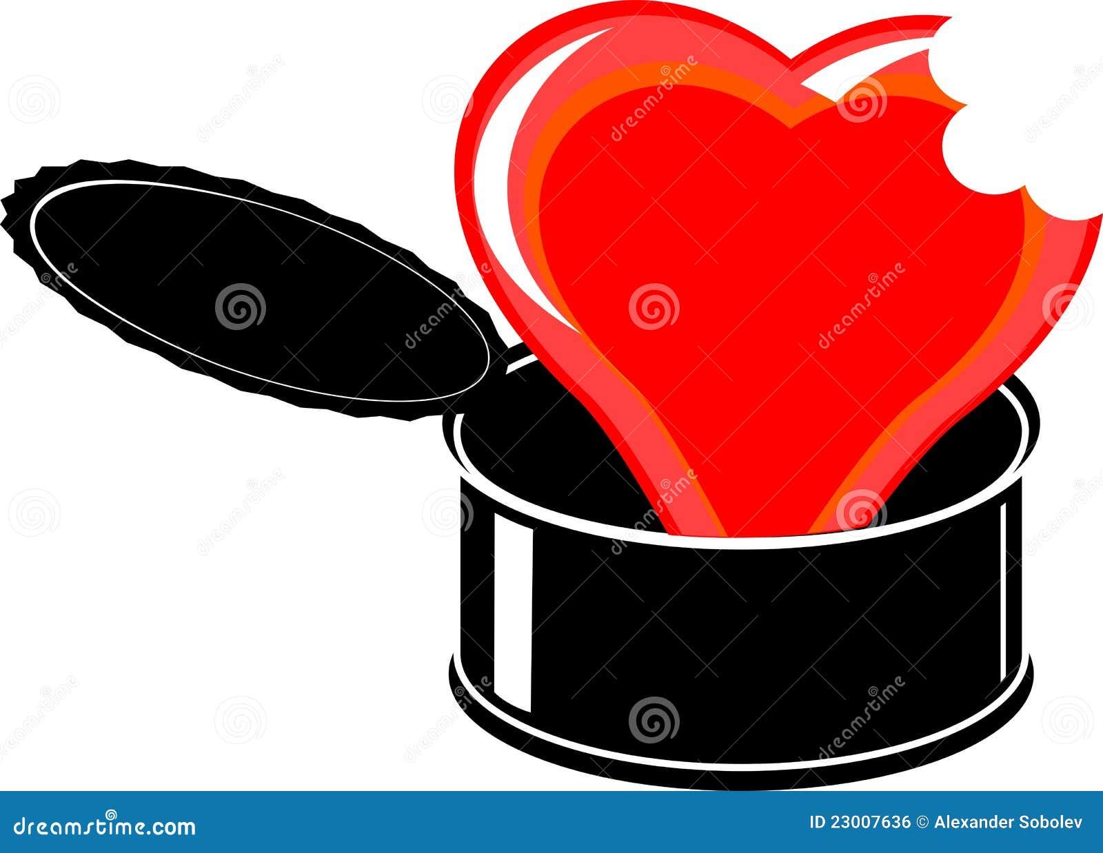coeur cass de dessin anim rouge en tain ouvert de noir. Black Bedroom Furniture Sets. Home Design Ideas