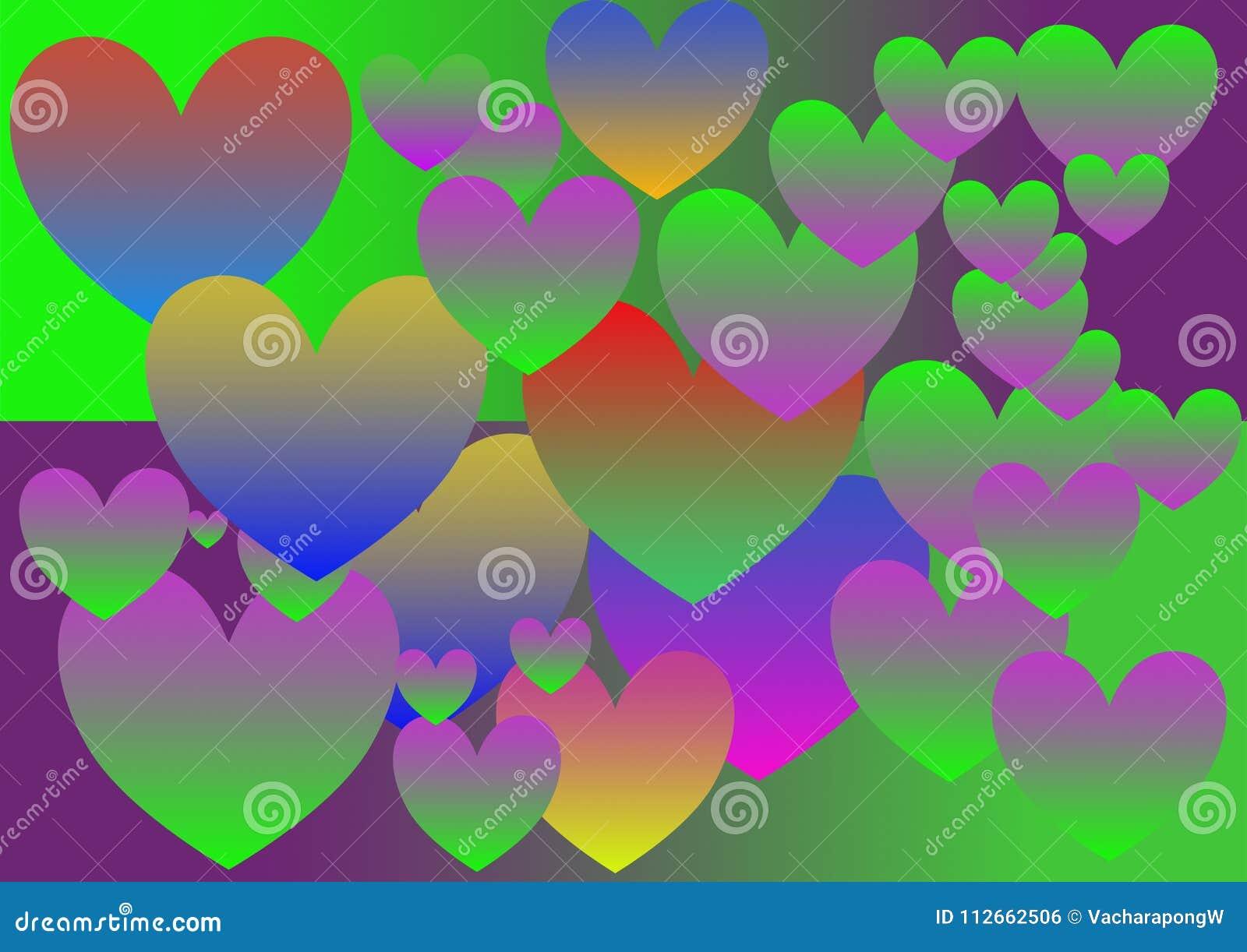 Coeur coloré, gradient, modèle, tailles multiples, style vif, vecteur