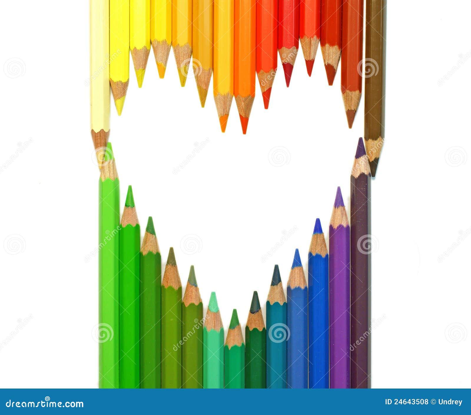 coeur crayons de couleur photos libres de droits image 24643508. Black Bedroom Furniture Sets. Home Design Ideas