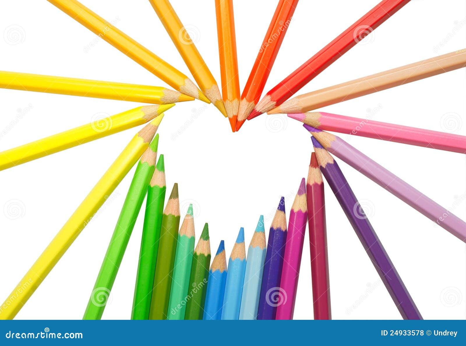 coeur crayons de couleur photo stock image du mat riel 24933578. Black Bedroom Furniture Sets. Home Design Ideas