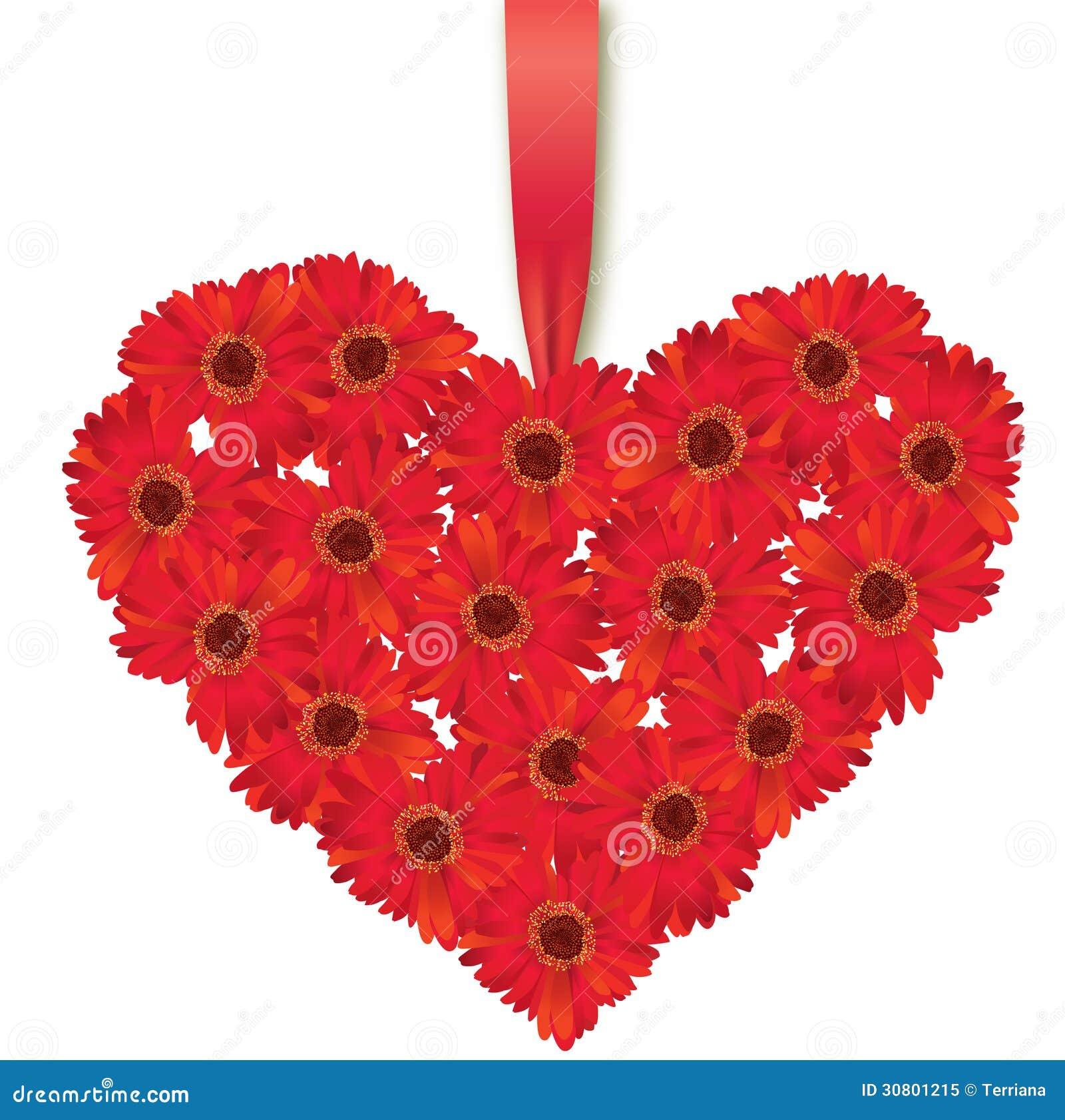 Coeur d 39 amour bouquet de fleur illustration stock - Bouquet de fleur en coeur ...