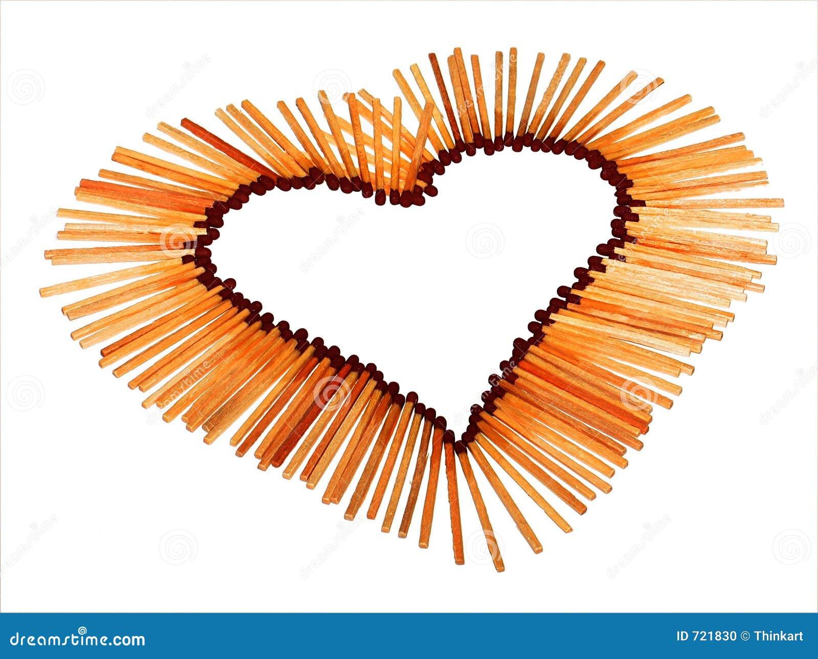 Coeur d 39 amour des allumettes photo stock image du - Photo de coeur d amour ...