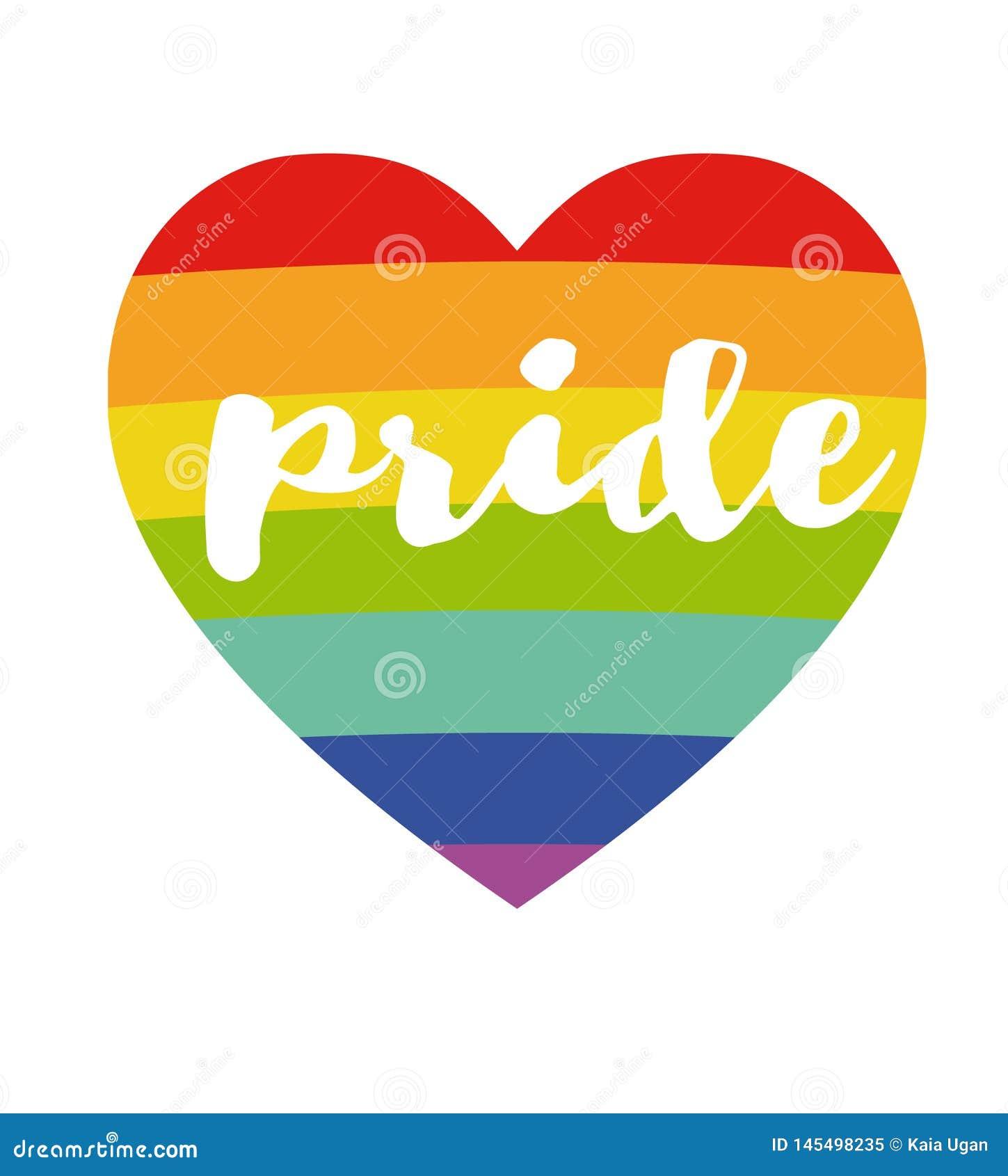 """Coeur d arc-en-ciel avec l affiche manuscrite de """"fierté """"de mot Concept de LGBT Arc-en-ciel et texte manuscrit Marquant avec des"""