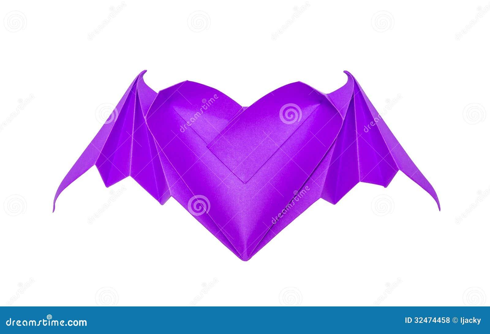 Coeur d 39 origami avec des ailes de batte photo stock - Coeur avec des photos ...