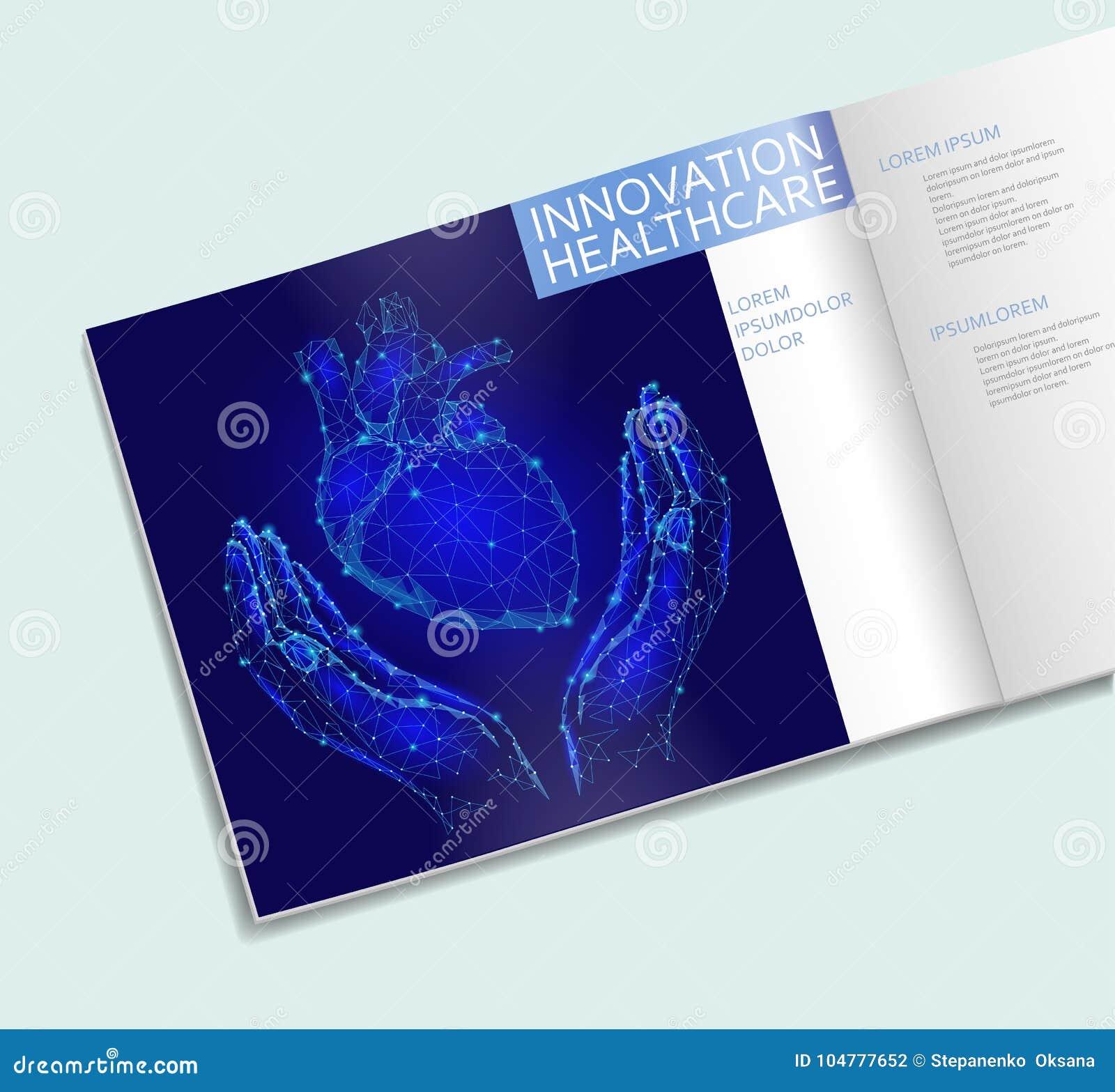 Coeur dans calibre de brochure de soins de santé de mains le bas poly Ligne polygonale conception de point de triangle Traitement