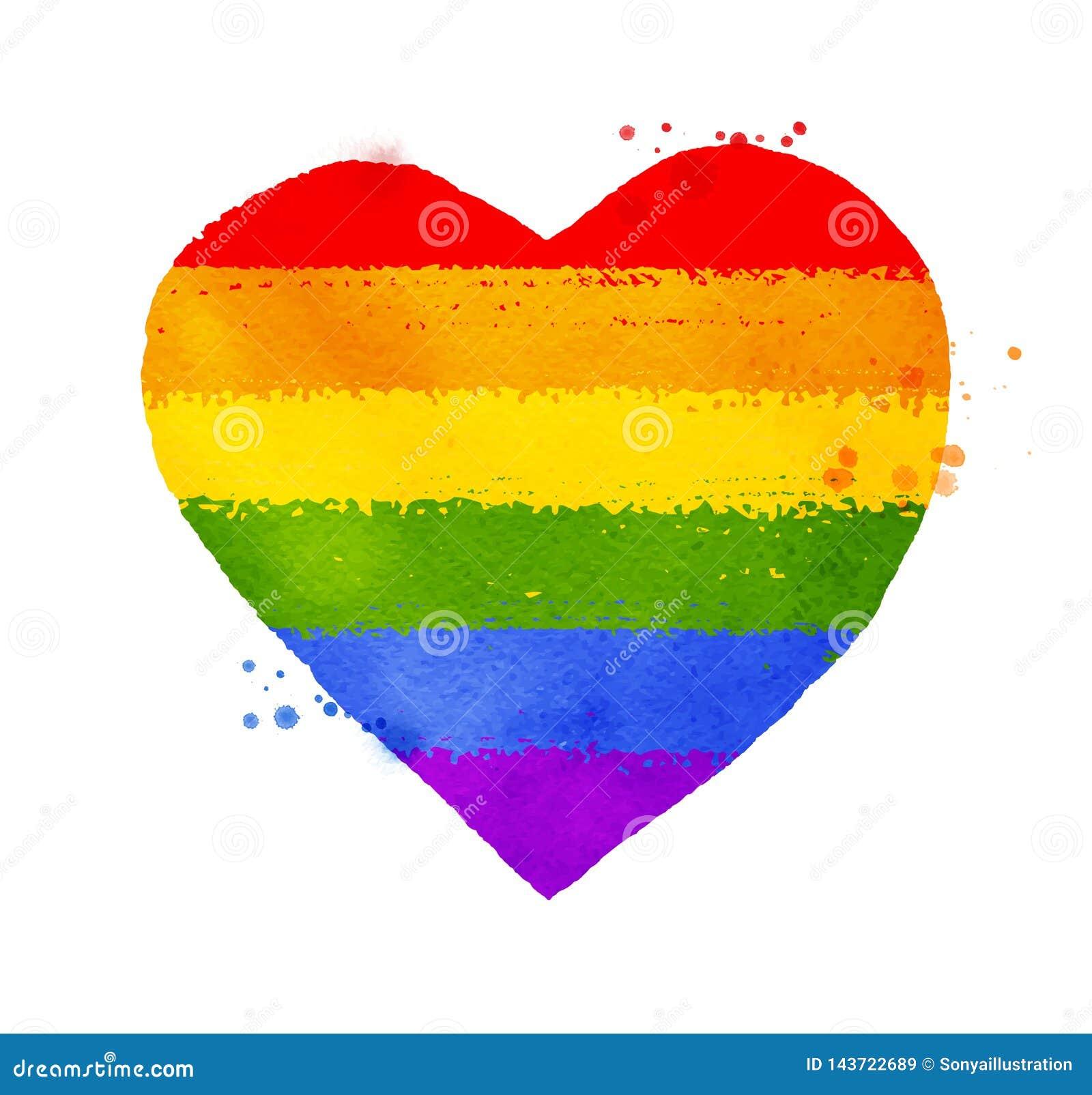 Coeur Dans Des Couleurs De Drapeau De L'arc-en-ciel LGBT ...