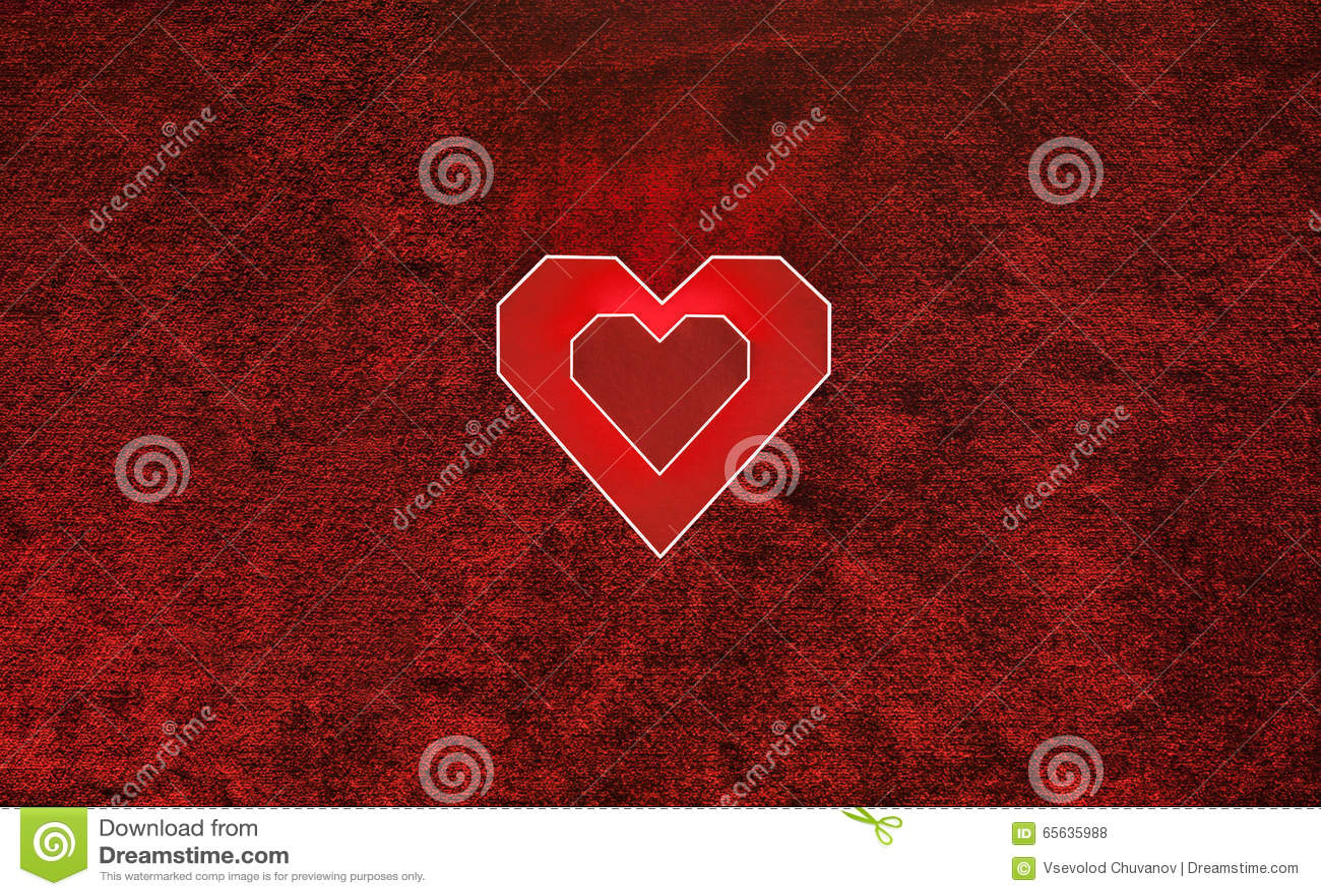 Coeur de carton de deux rouges sur le velours Fond de jour de valentines