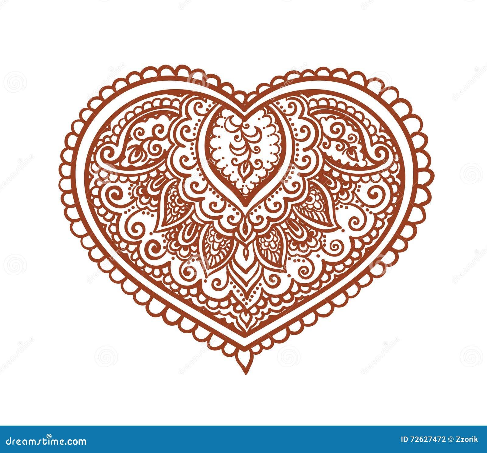 Coeur De Dentelle Tatouage Ethnique De Henne Vecteur Pour Le Saint