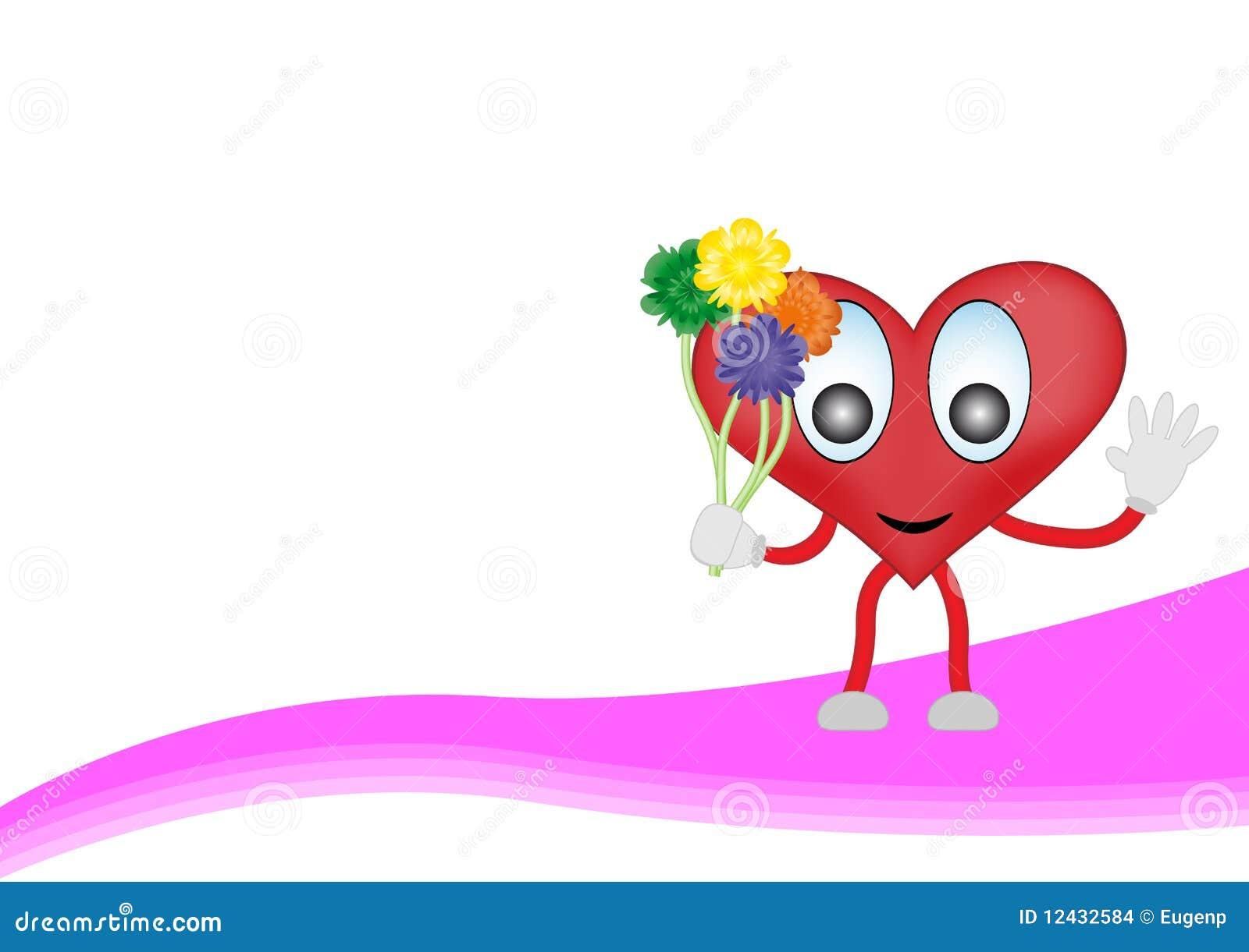 Coeur de dessin anim avec des fleurs - Coeur avec des fleurs ...