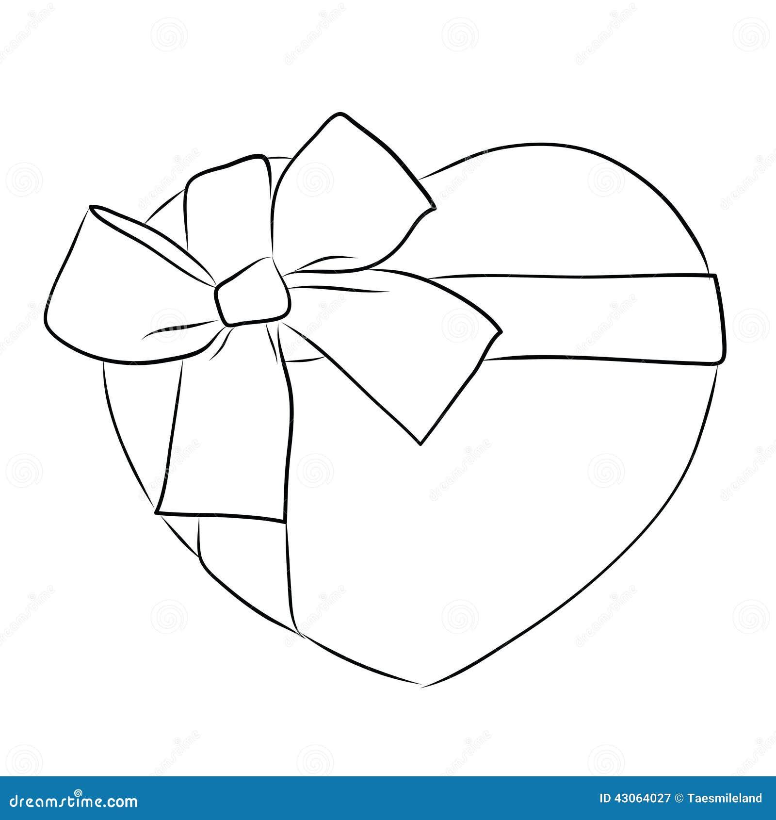 Coeur de dessin avec le grand arc de ruban illustration de - Coeur en dessin ...