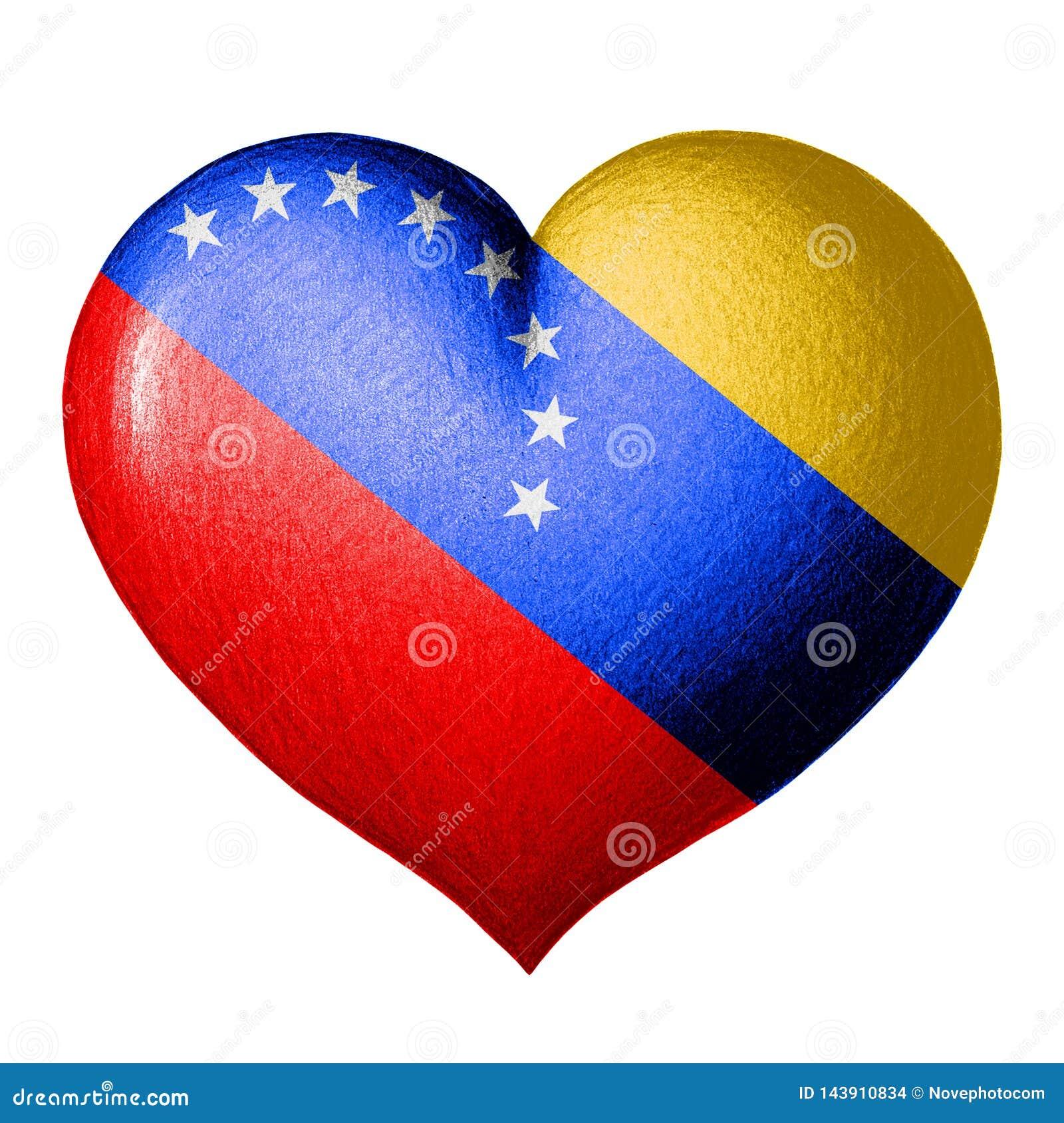 Coeur de drapeau du Venezuela D isolement sur le fond blanc