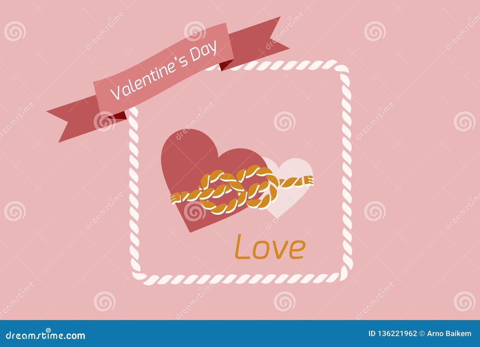 Coeur de fond de Saint-Valentin, appareillé avec une corde des liens, images de vecteur Papier peint, insecte, invitation, affich