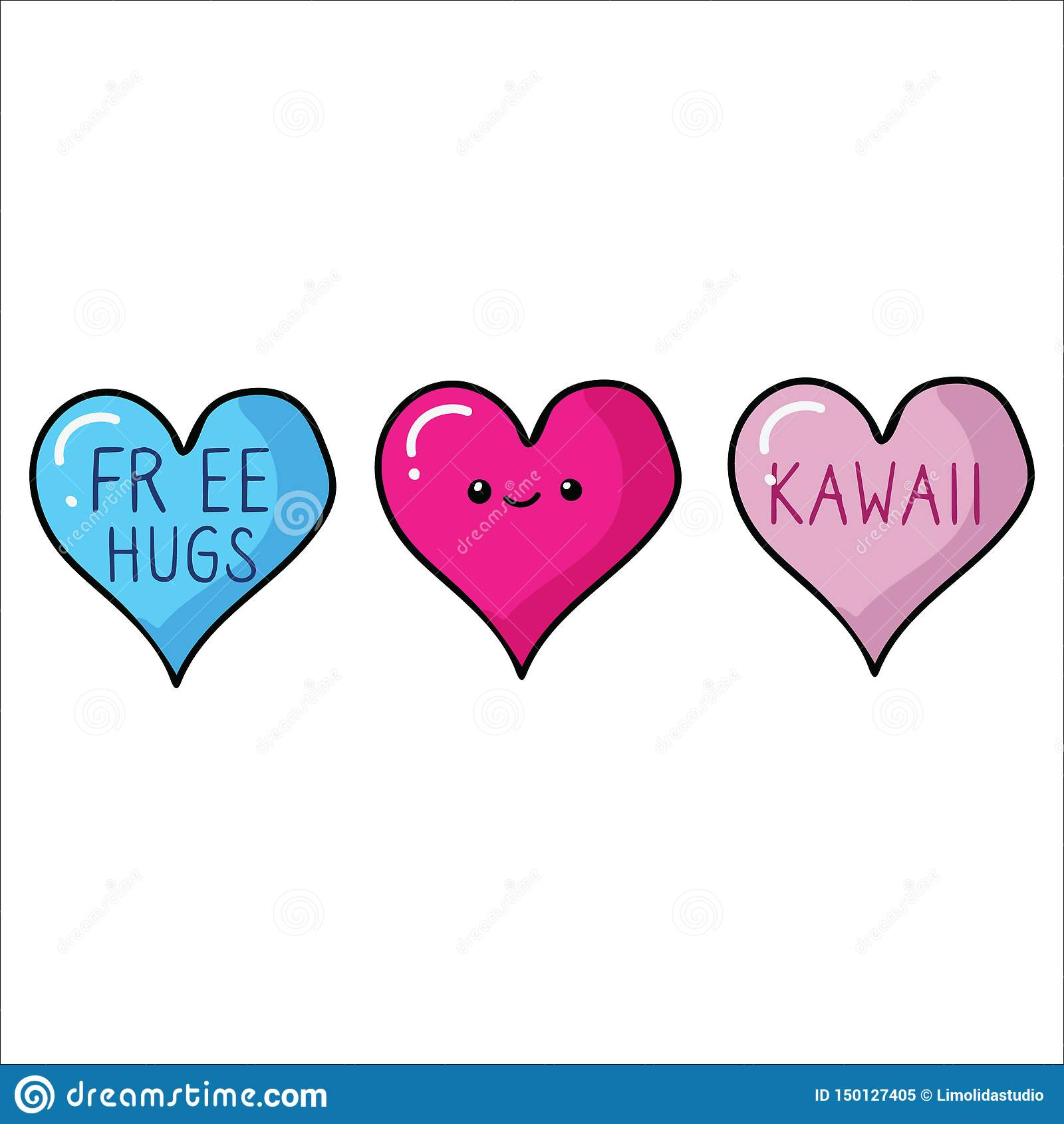 Coeur De Kawaii Avec Le Visage Et Lensemble Libre De Motif