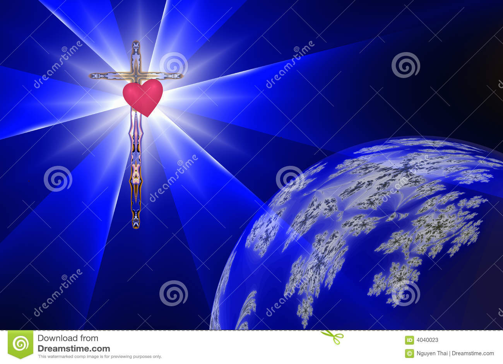 Coeur de la croix avec la lumière divine