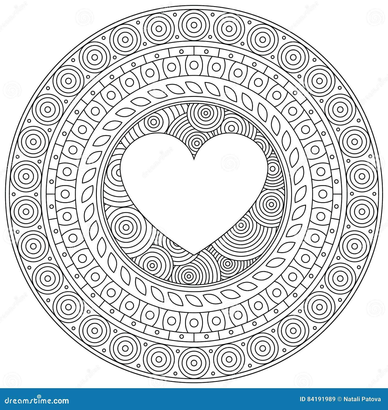 Coeur de mandala pour le saint valentin ornement rond d coratif configuration sur le dpiraster - Mandala de coeur ...