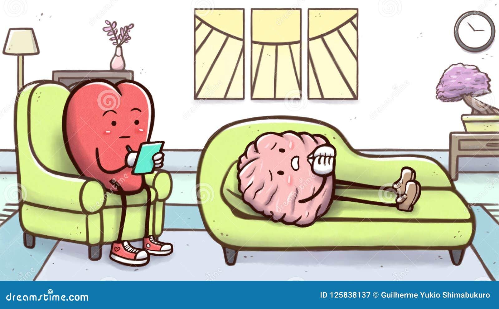 Coeur de psychologue en session de thérapie avec un cerveau patient sur le divan