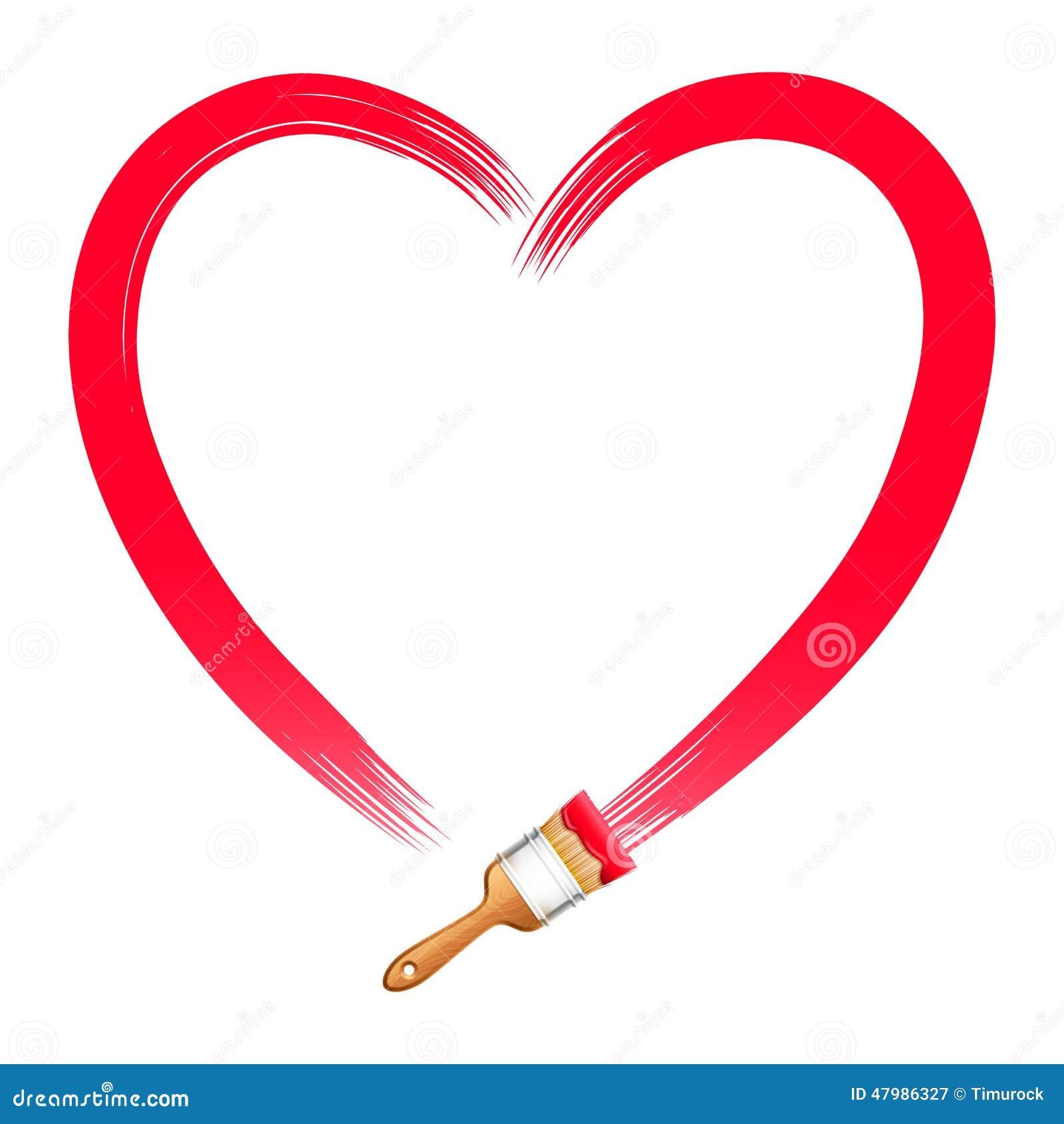 Coeur de rouge de dessin de brosse illustration de vecteur - Desin de coeur ...