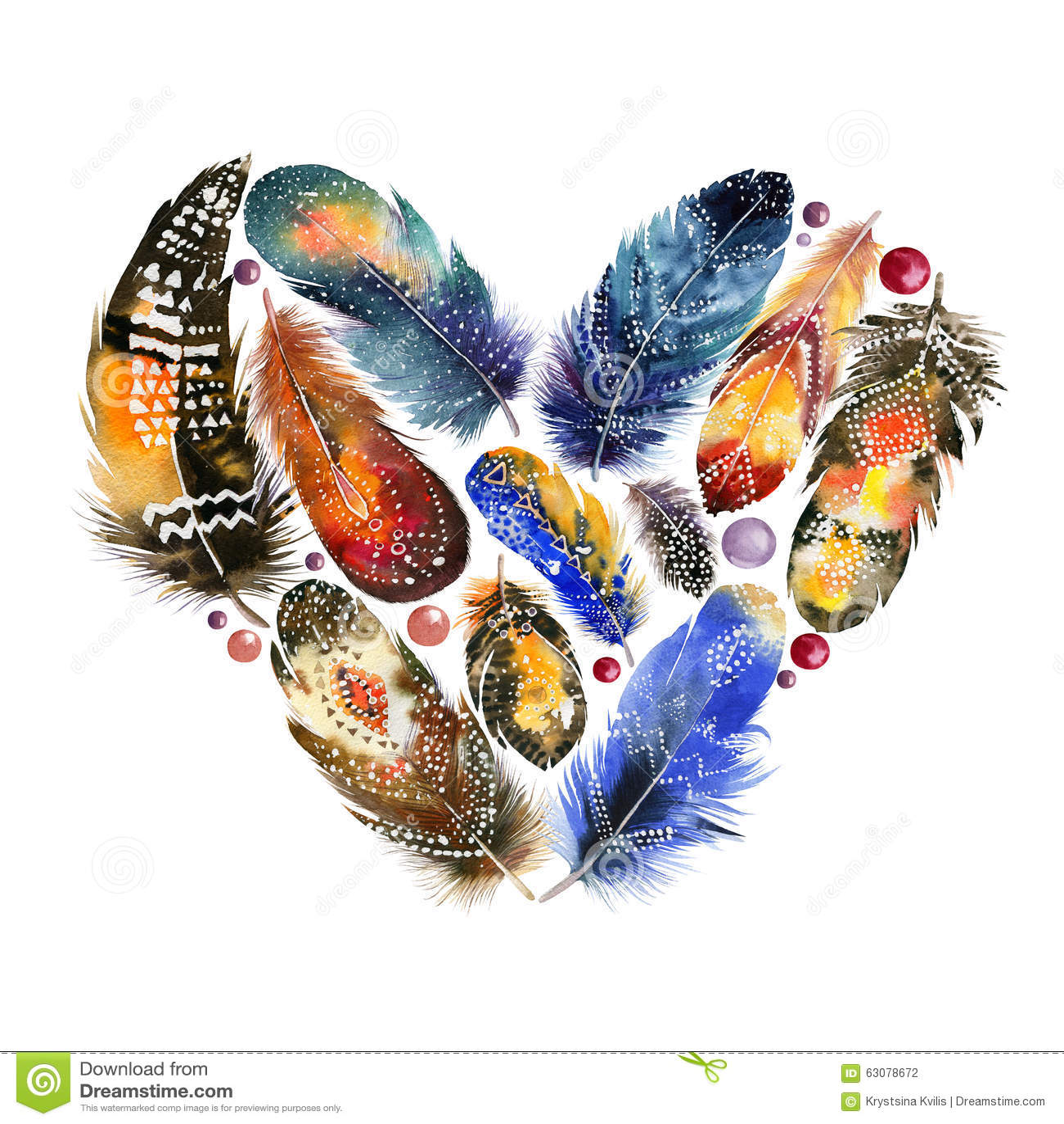 Download Coeur De Style De Boho Avec Des Plumes D'oiseau Cru Photo stock - Image du rétro, conception: 63078672
